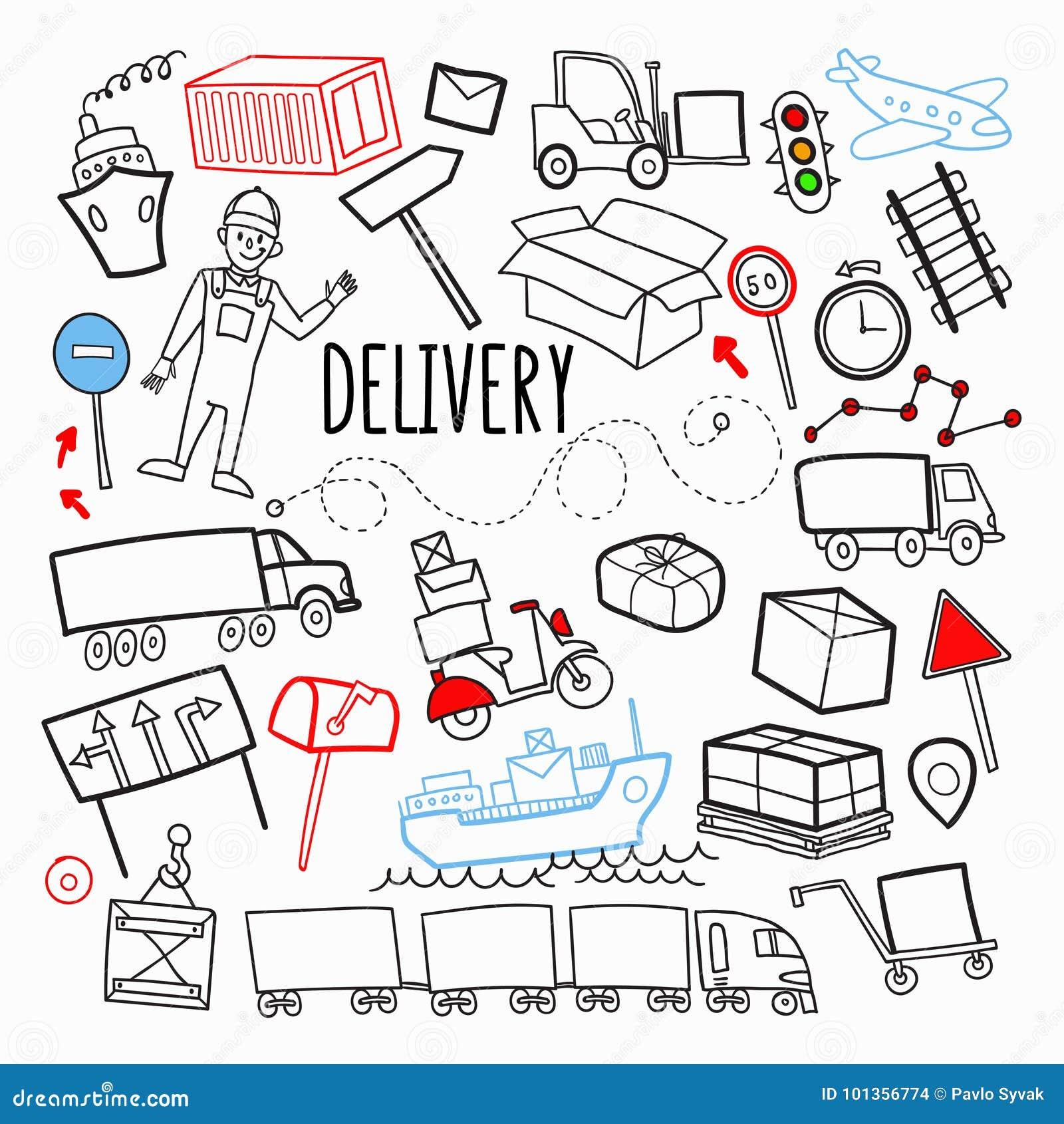 Doodle доставки поставки перевозки нарисованный рукой Логистические элементы индустрии Транспорт, контейнер, поставляя обслуживан