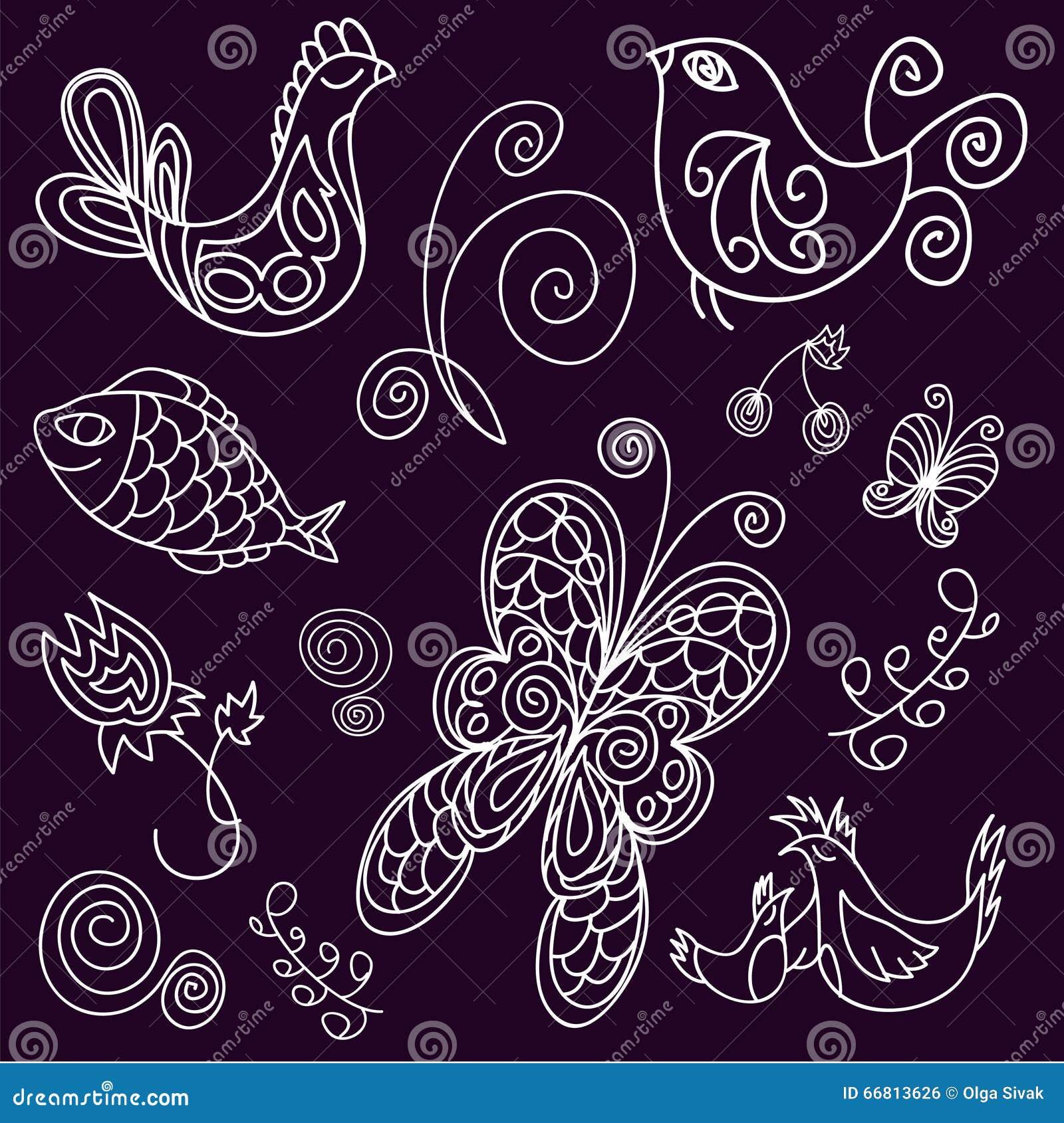 Doodle птицы, листья, рыбы и бабочки