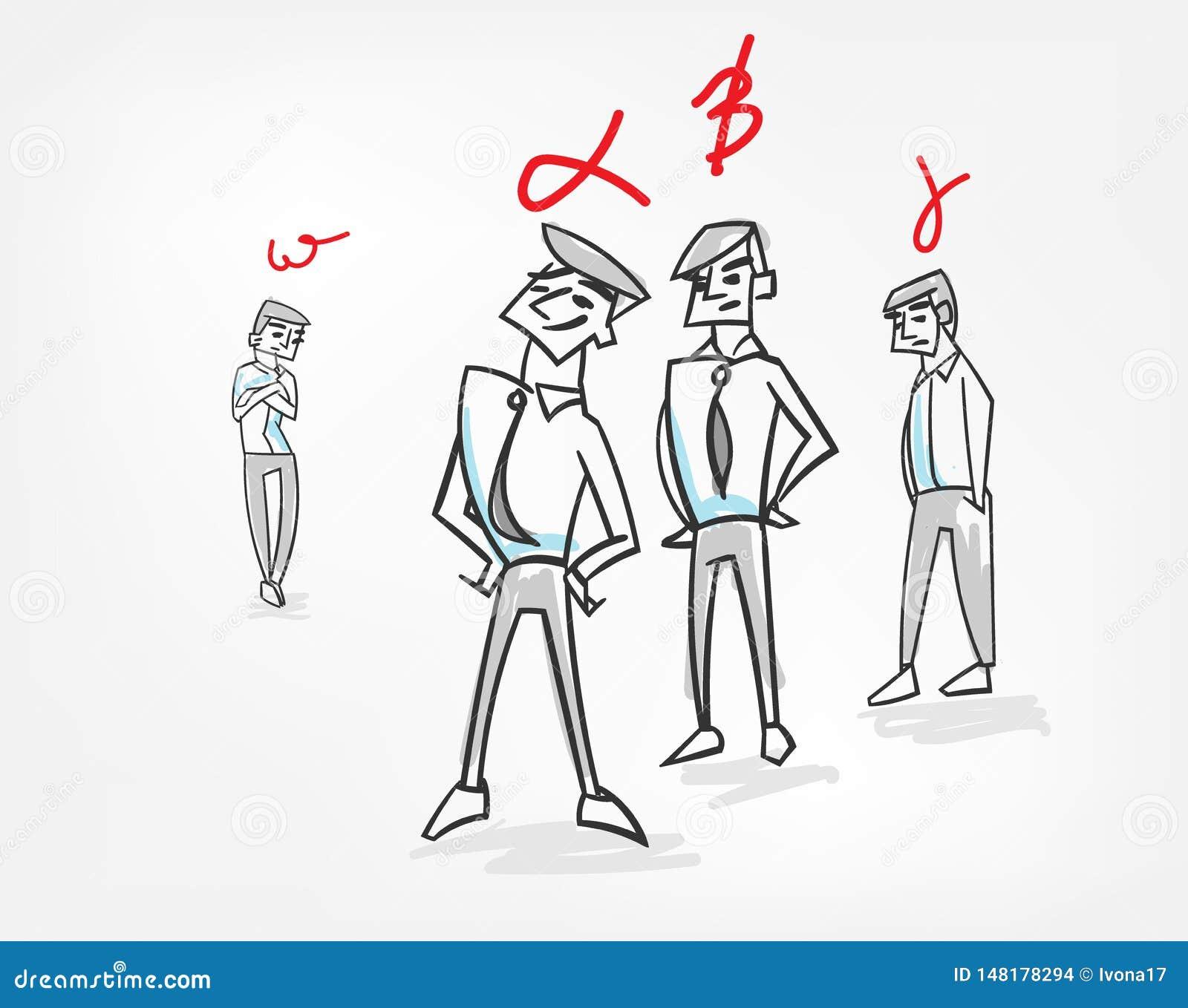 Doodle эскиза иллюстрации вектора сыгранности концепции психологии иерархии группы