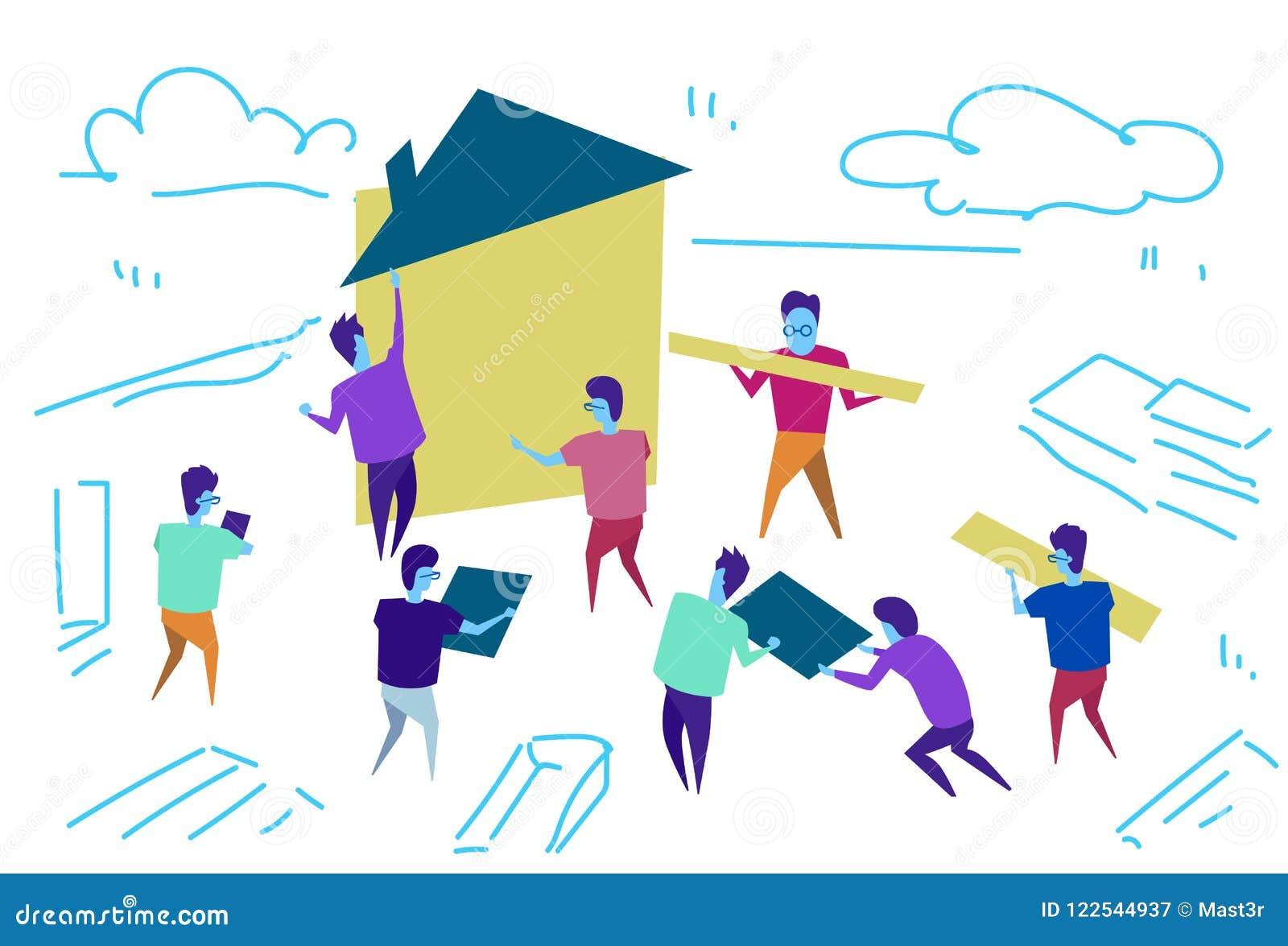 Doodle эскиза концепции сыгранности процесса тимбилдинга работников дома конструкции группы людей горизонтальный