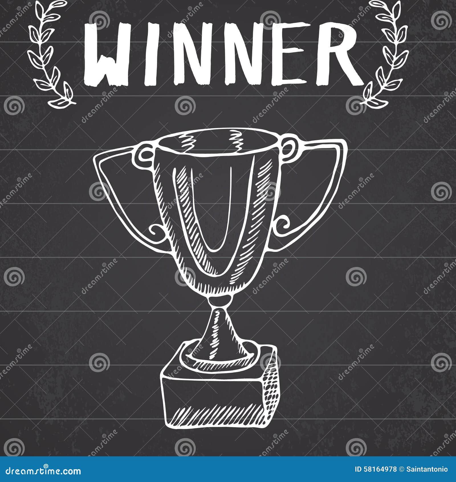 Doodle эскиза трофея спорта Победители нарисованные рукой призовые на предпосылке доски