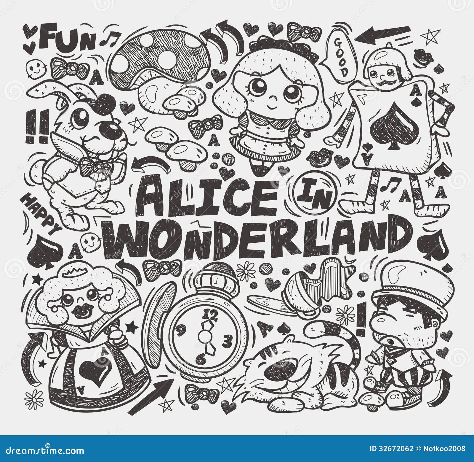 Doodle Alice In Wonderland Element Stock Photography