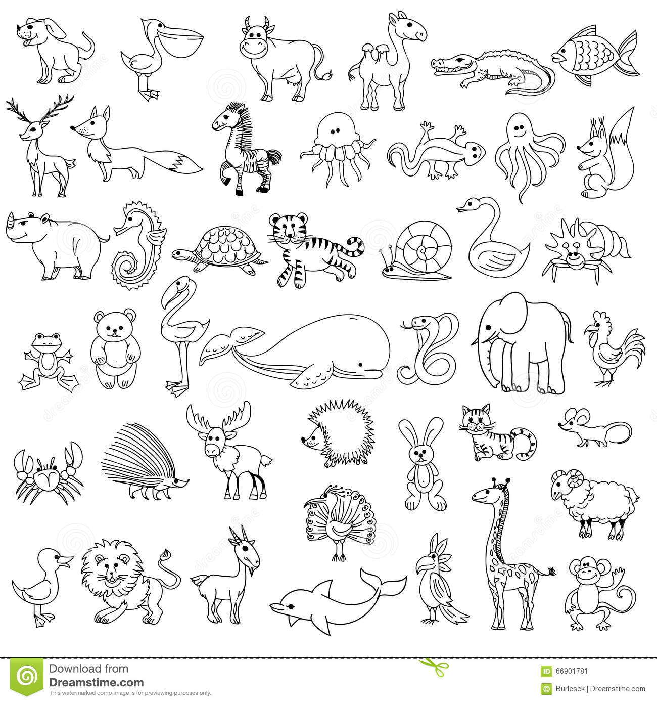 doodle animals childrens drawing stock vector   image 66901781