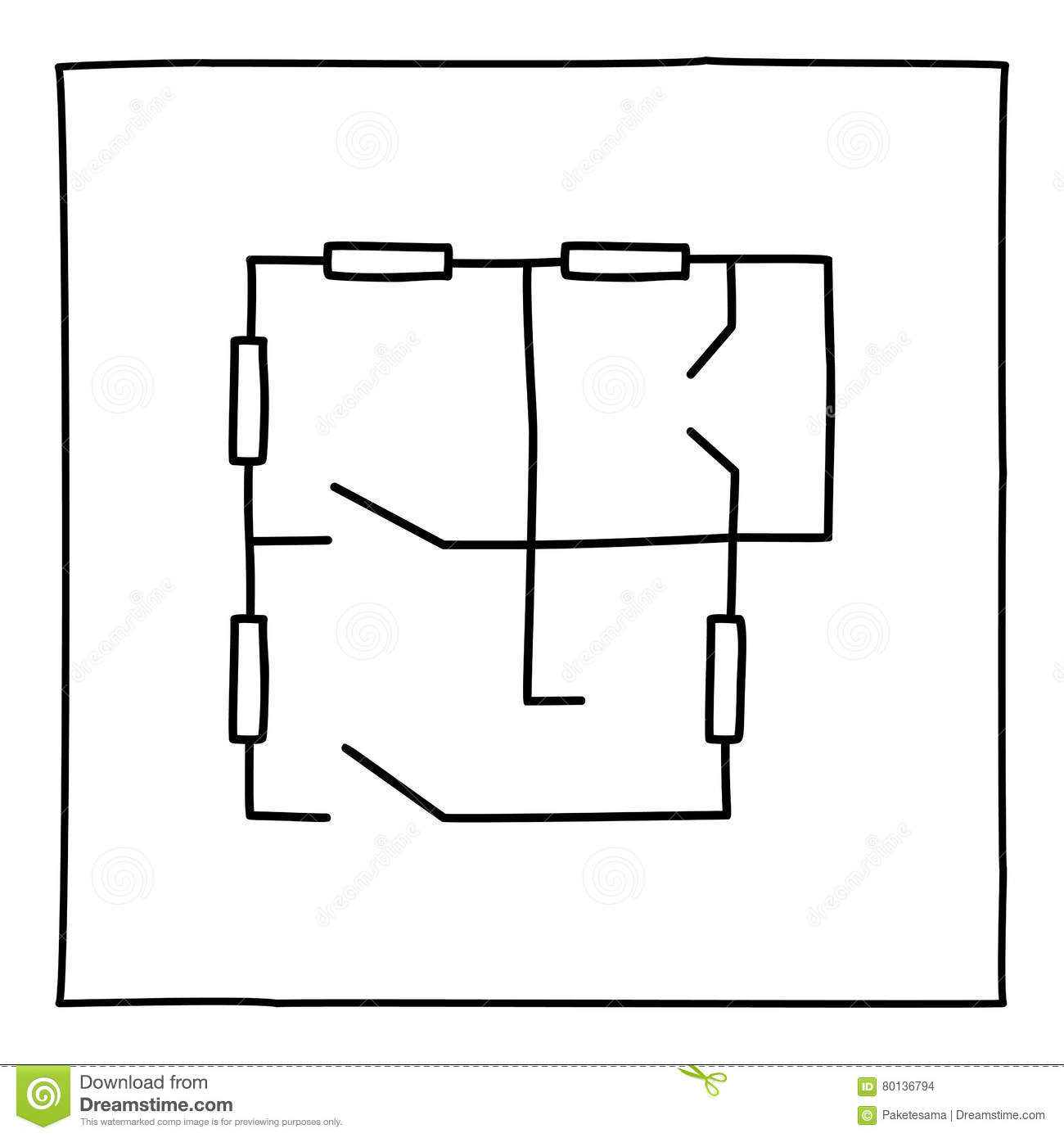 Doodle Apartment Floorplan Icon Stock Illustration Image