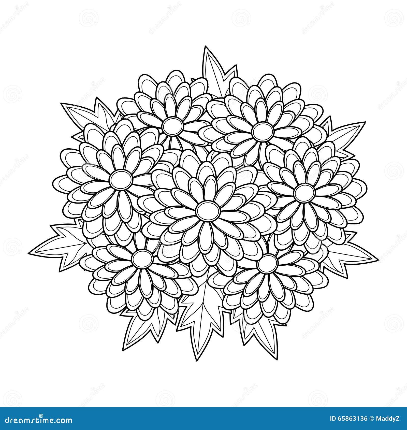 Doodle Art Flowers Chrysanthemum. Zentangle Floral Pattern. Stock ...