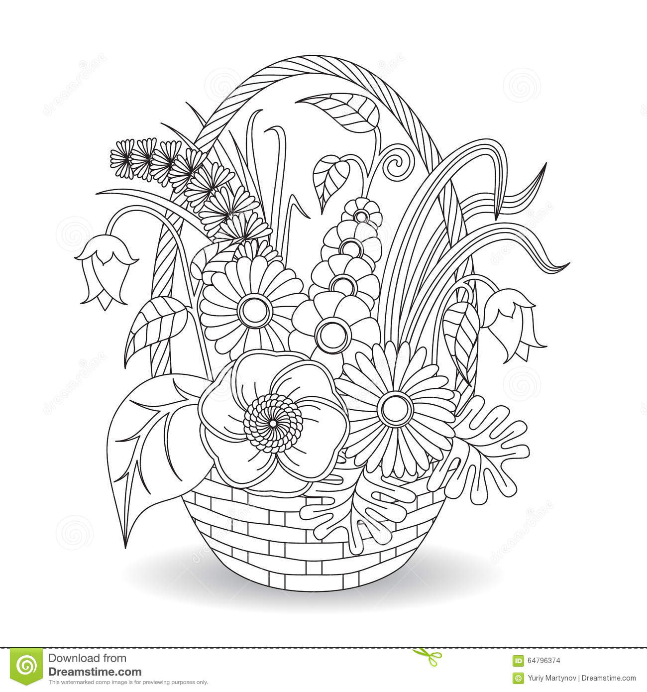 Doodle Art Flowers Floral Pattern Stock Vector