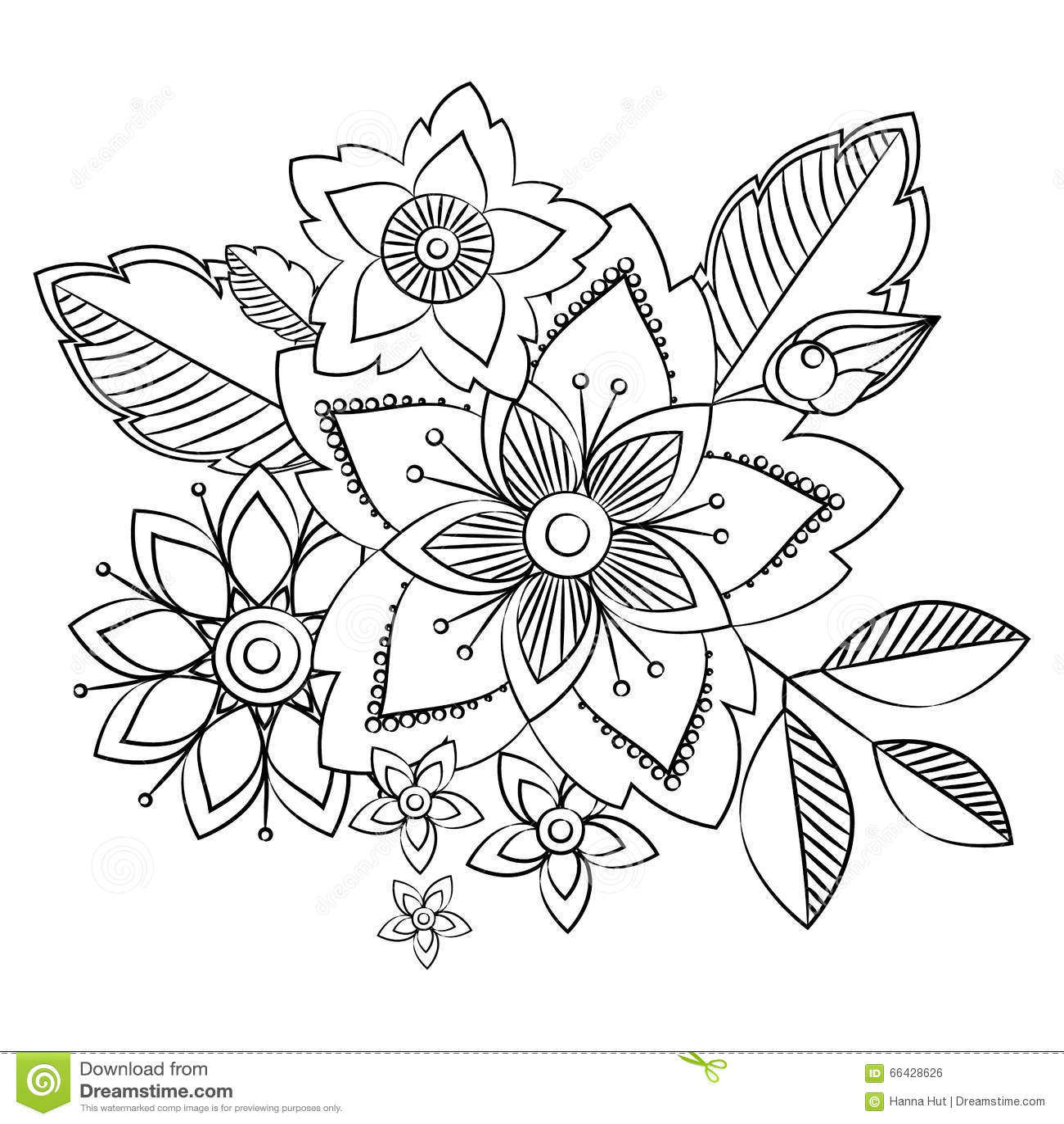 Doodle Art Flowers Hand Drawn Herbal Design Elements