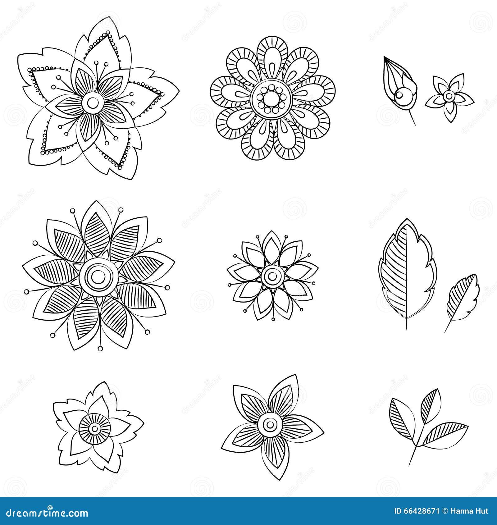 Doodle Art Flowers Hand Drawn Herbal Design Elements Stock Vector
