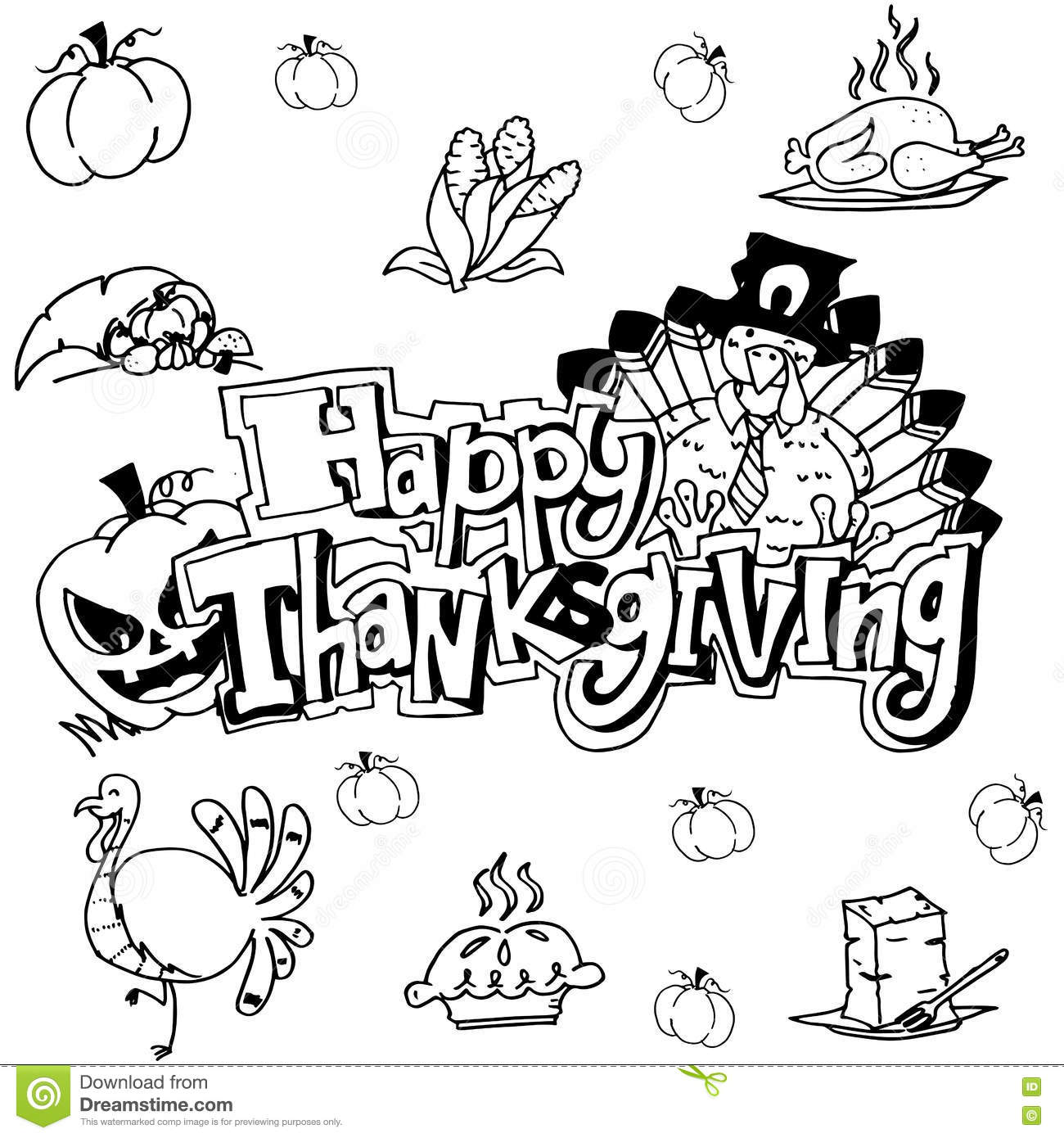 Doodle Art Happy Thanksgiving Stock Vector Illustration Of