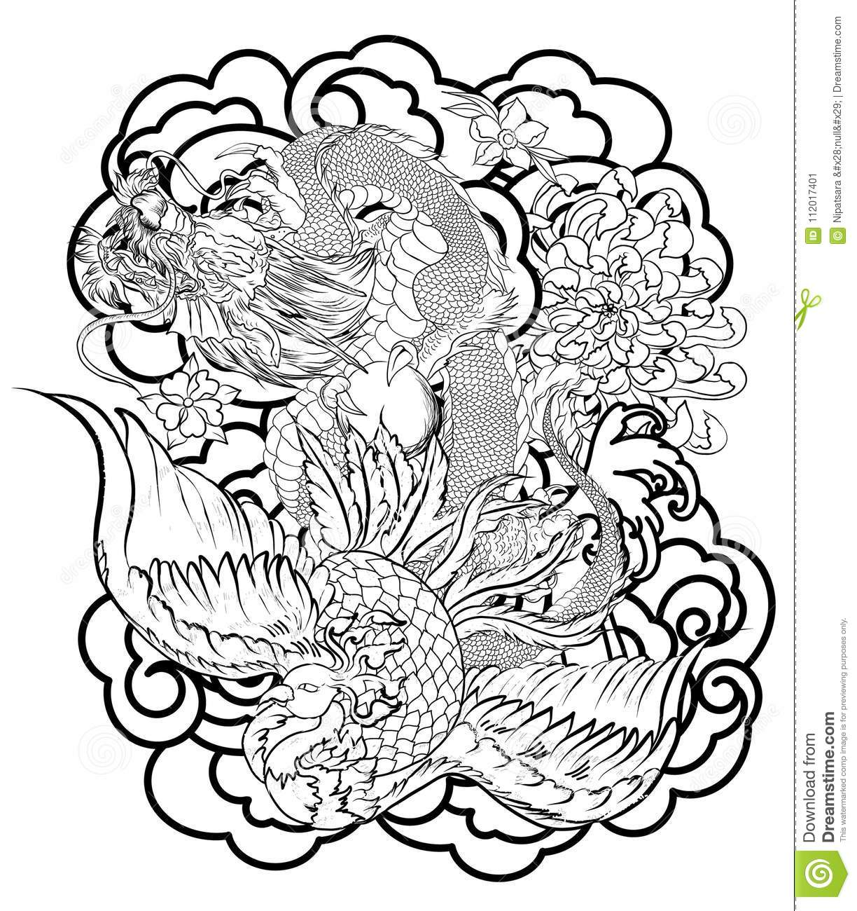 Chinese Dragon And Peacock Tattoo Designpeach With Peony And Plum