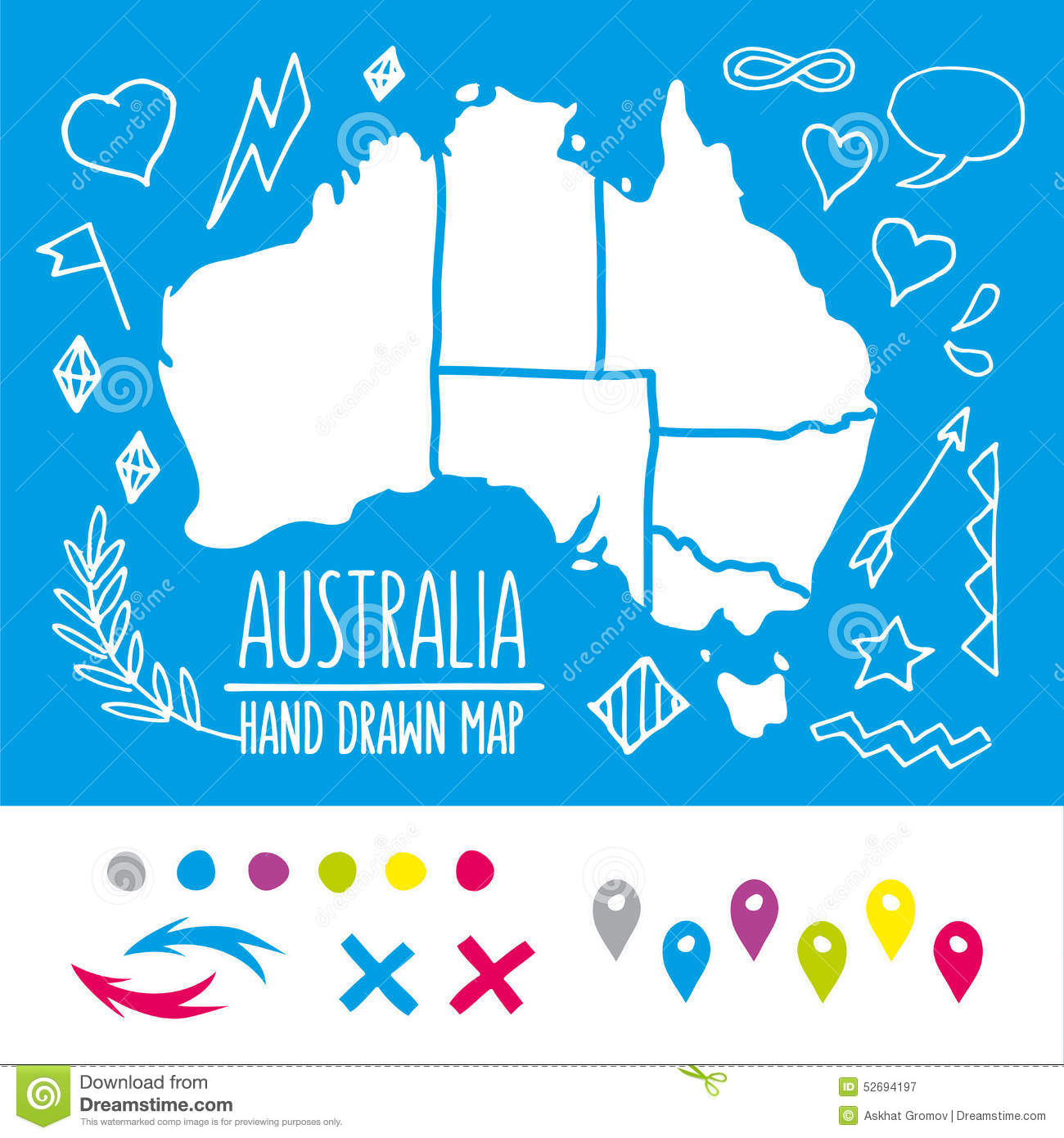 doodle australia travel map with pins and extras