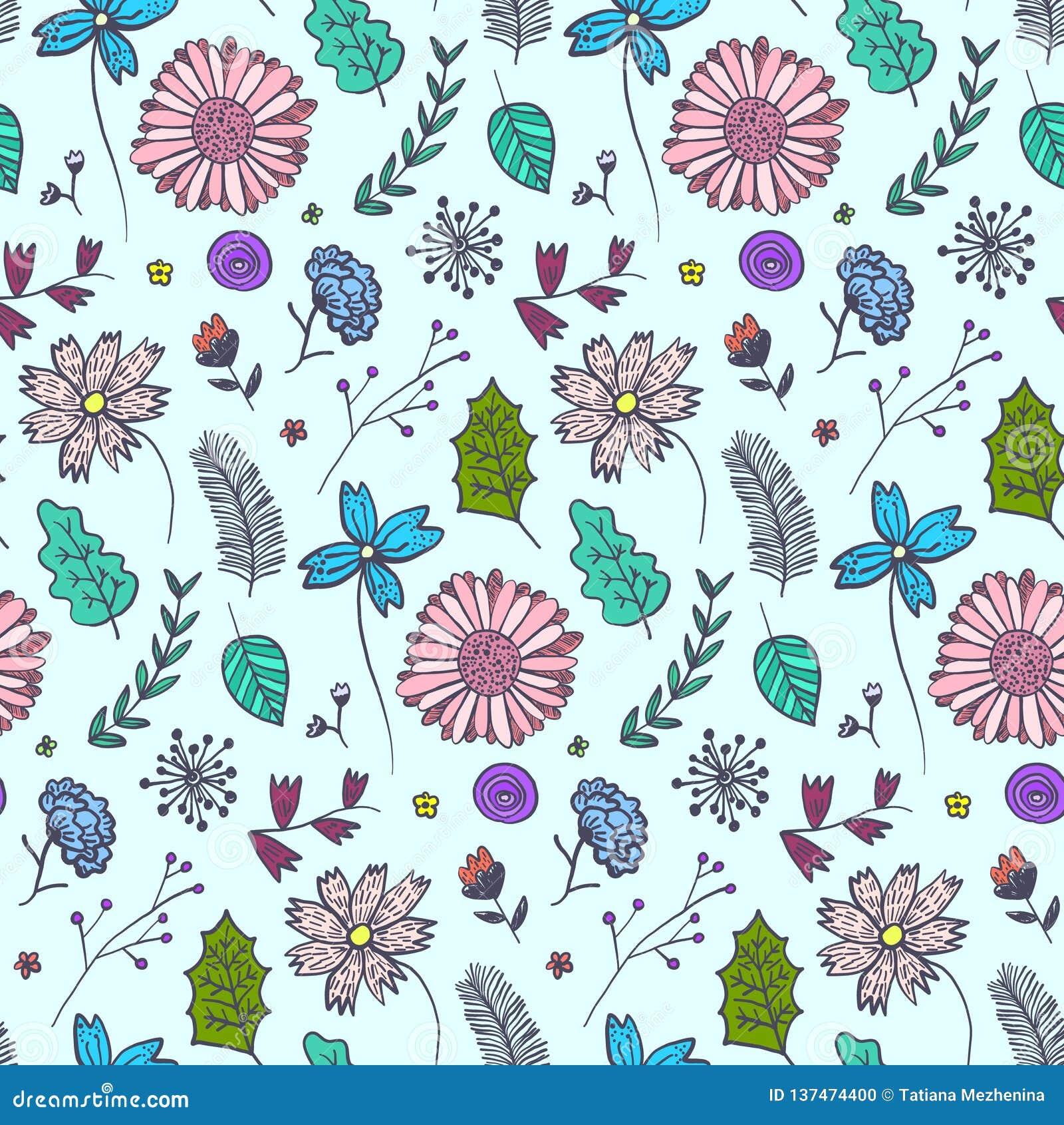 Doodle błękitny kwiecisty wzór z kolorowymi kwiatami