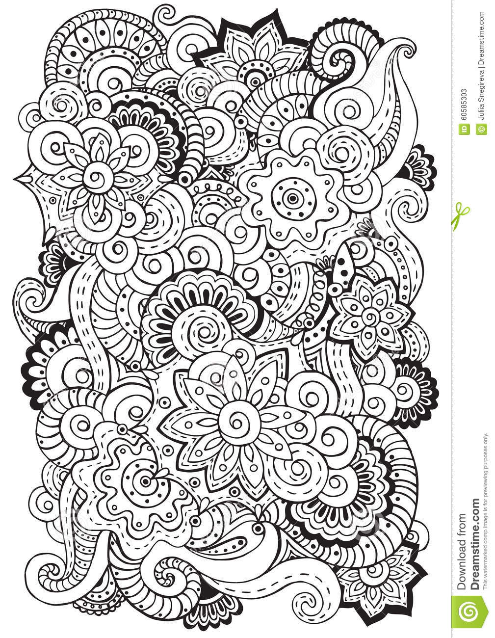 Doodle Background In Vector With Flowers Paisley Black
