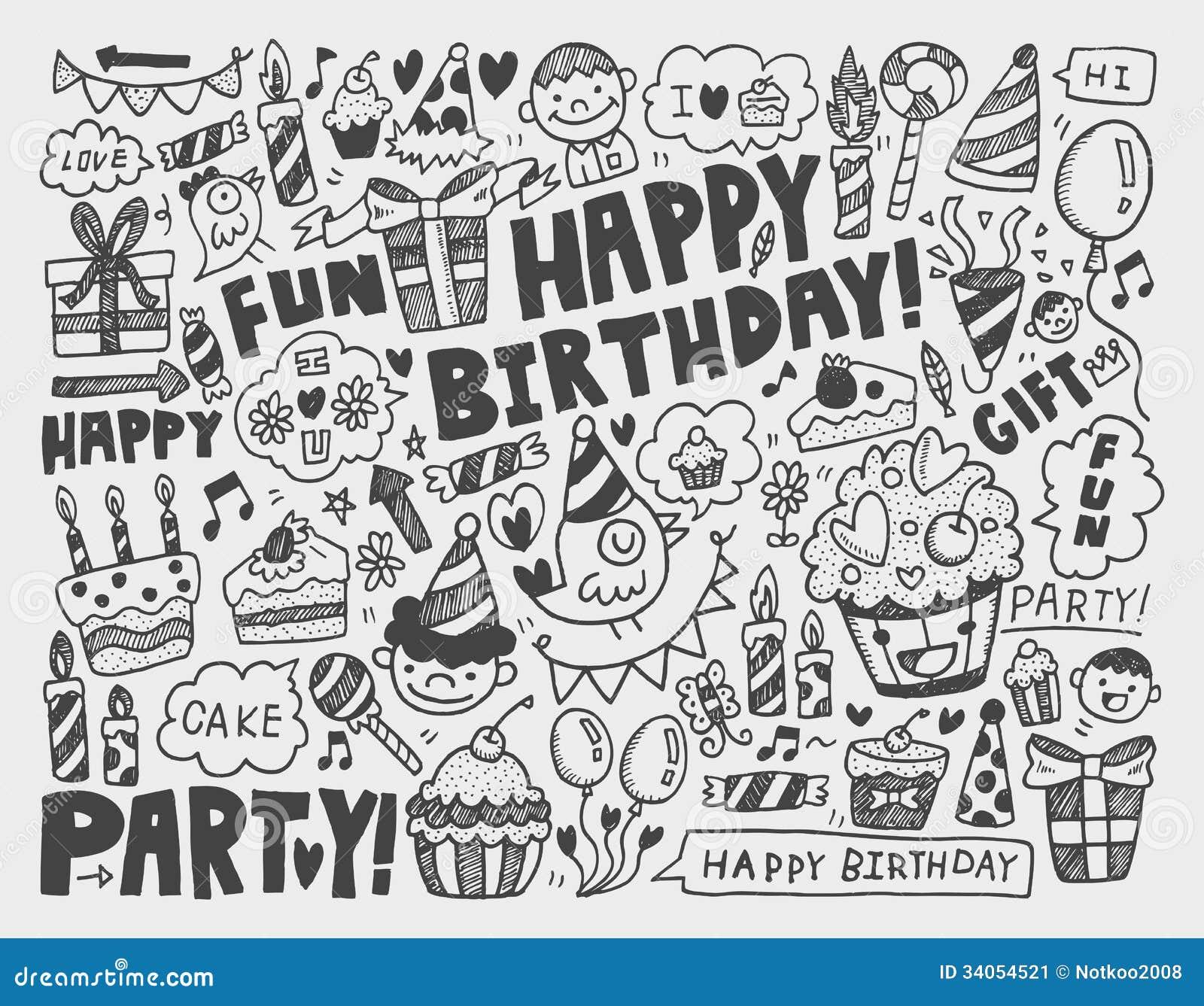Doodle Birthday Party Background Stock Image Image 34054521