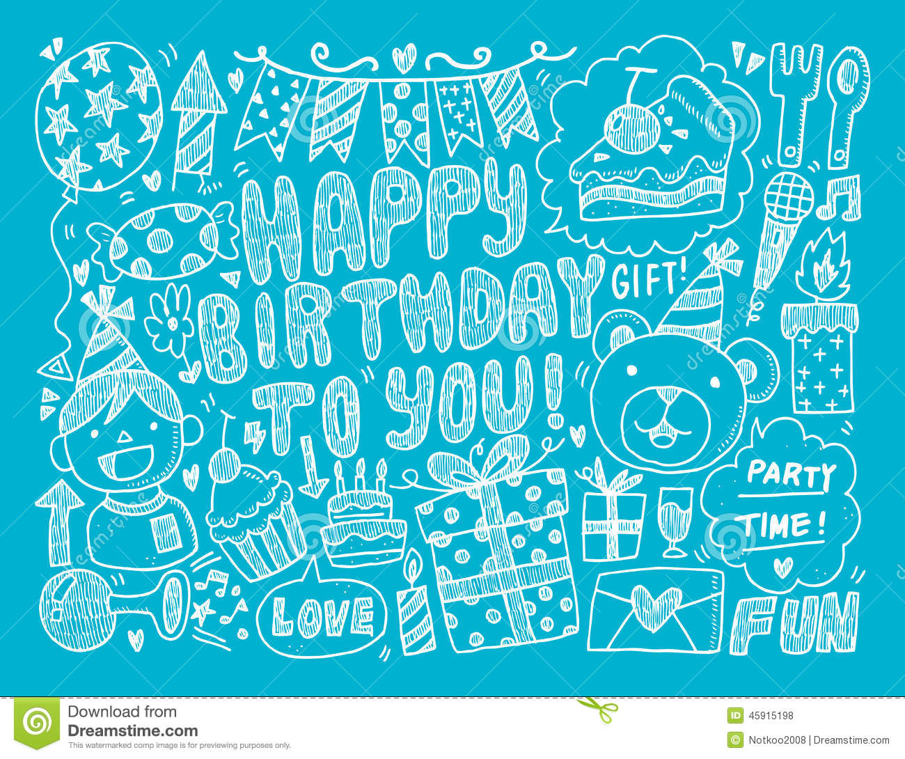 doodle birthday party background stock vector illustration of