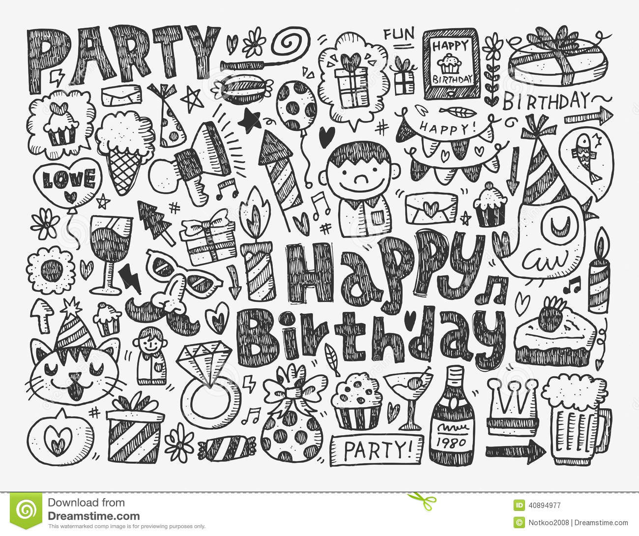 Doodle Birthday Party Background Stock Vector Image