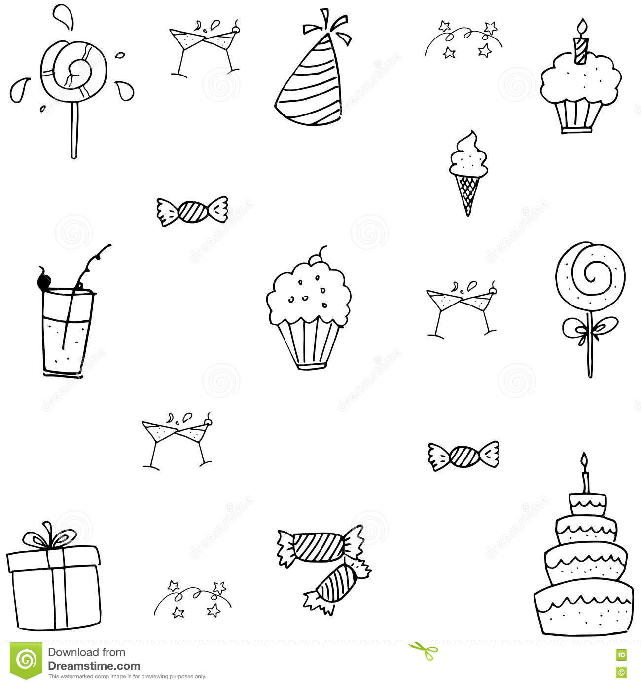 Doodle Birthday Party Vector Art Stock Photo