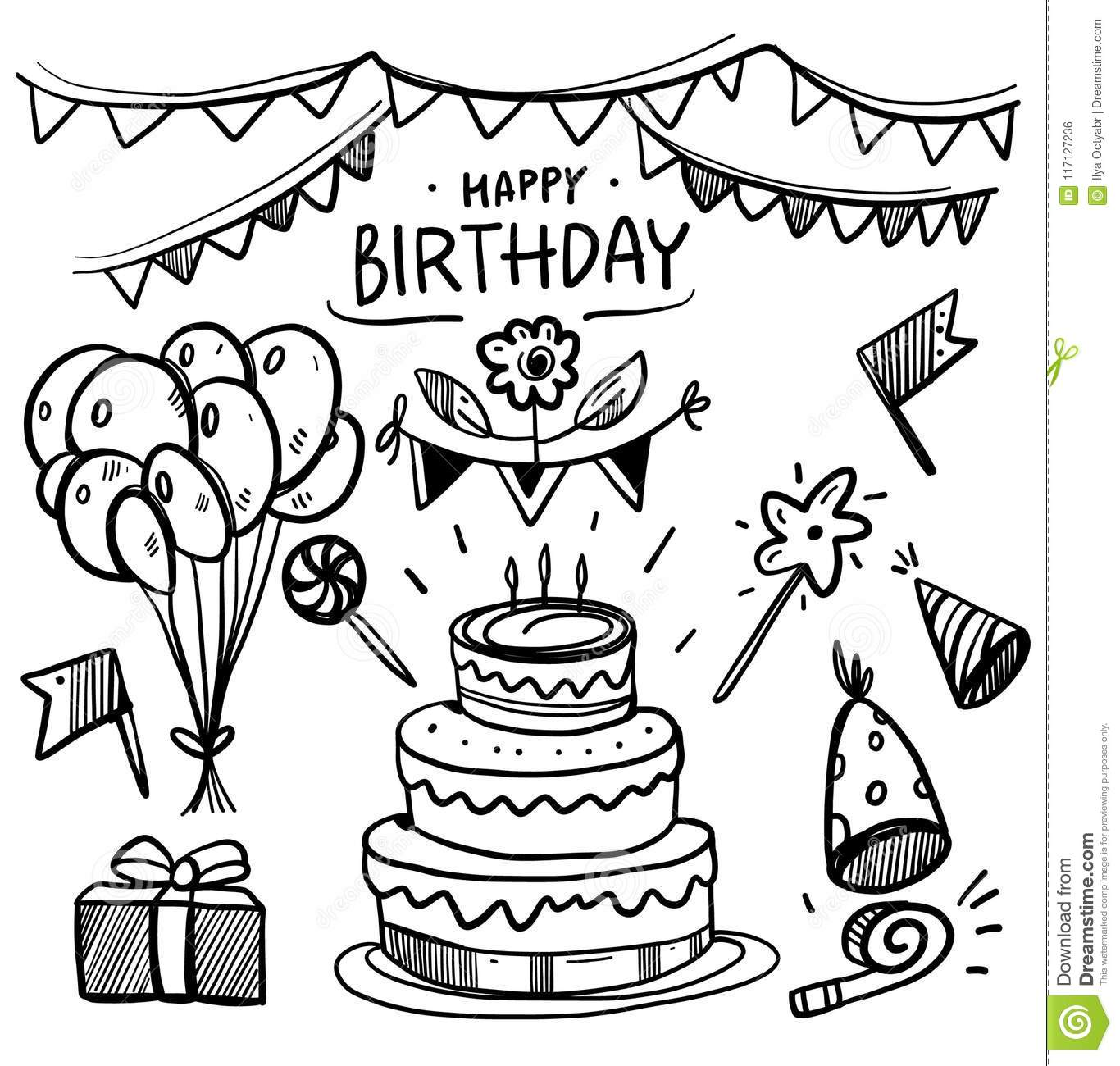 Doodle Birthday party vector set collection.