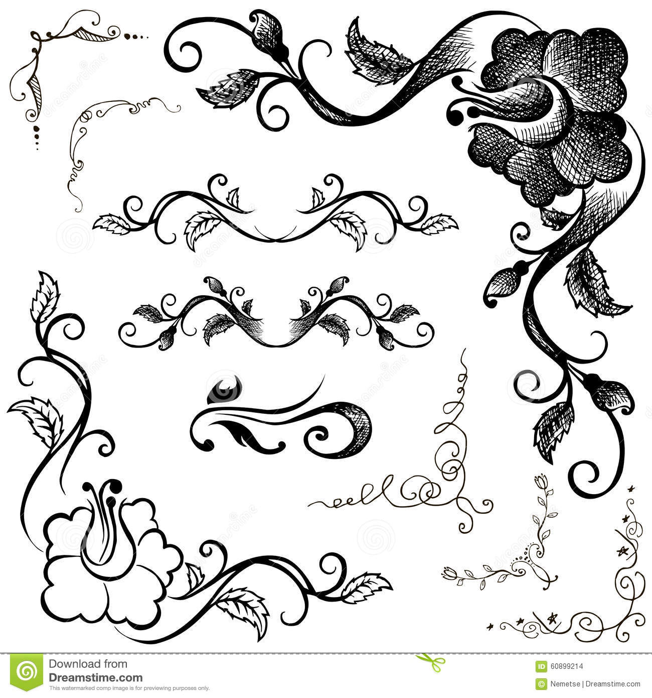 Frame Design Line Art : Doodle border and floral patterns hand drawing stock