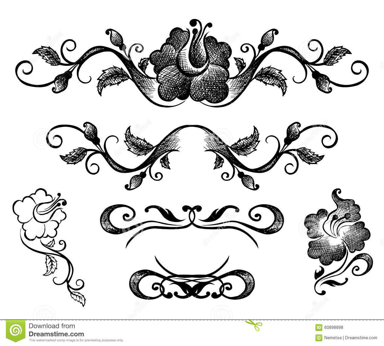 Doodle Border And Floral Patterns Stock Vector ...