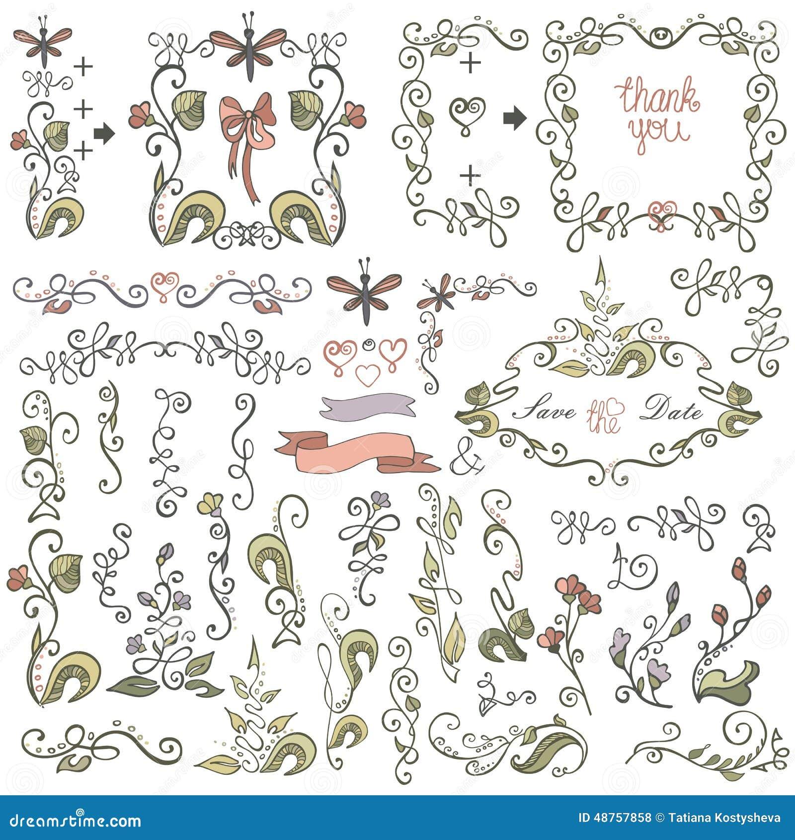 Stock Illustration: Doodle border,frame,decor element.Floral colored ...