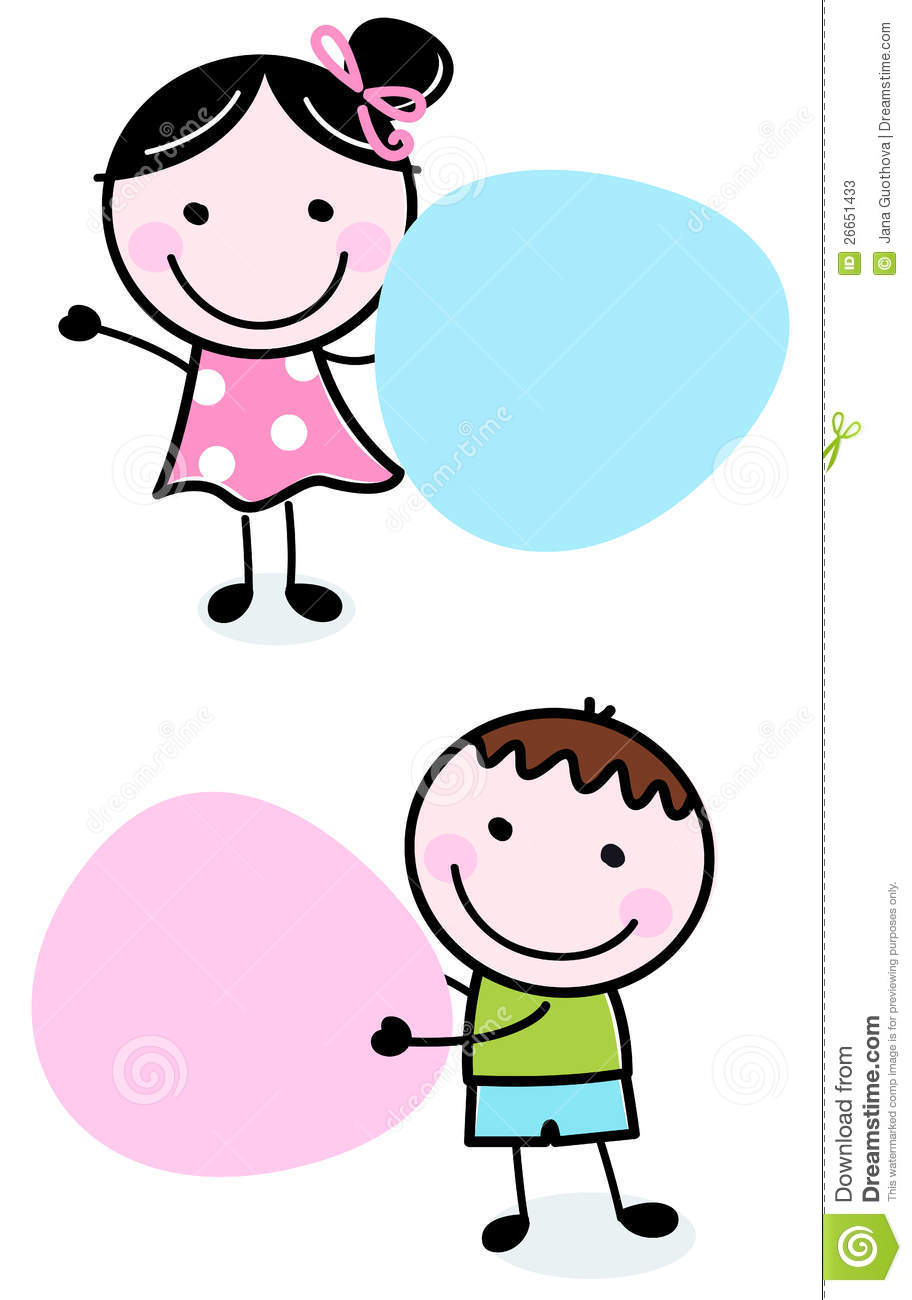 doodle boy and girl holding blank banners stock vector