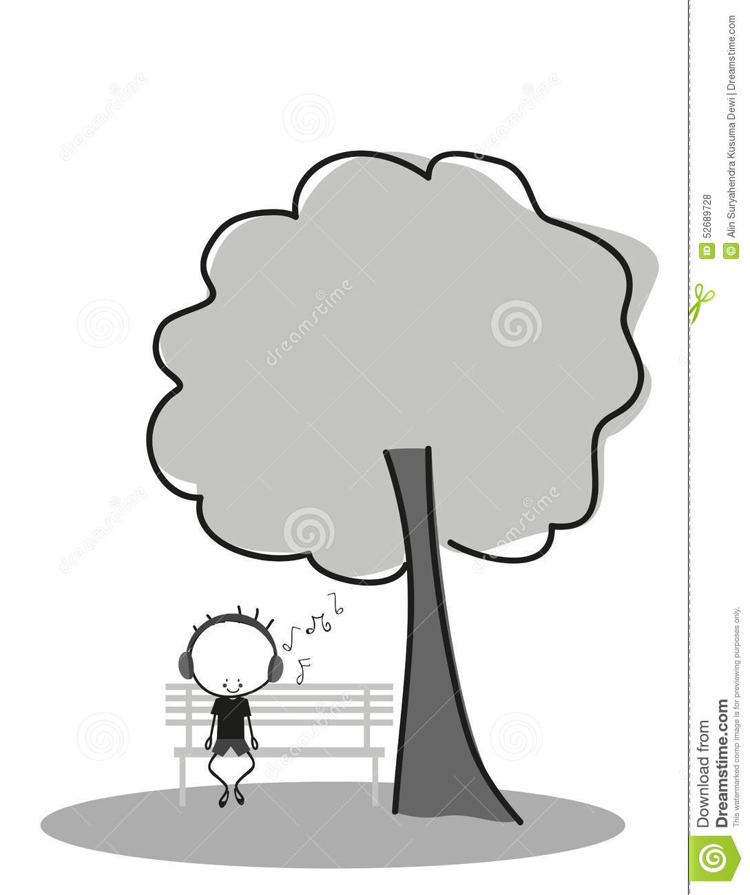 Doodle Boy Listen To Music While Sitting On A Park Bench Under A Tree Stock Vector Image 52689728