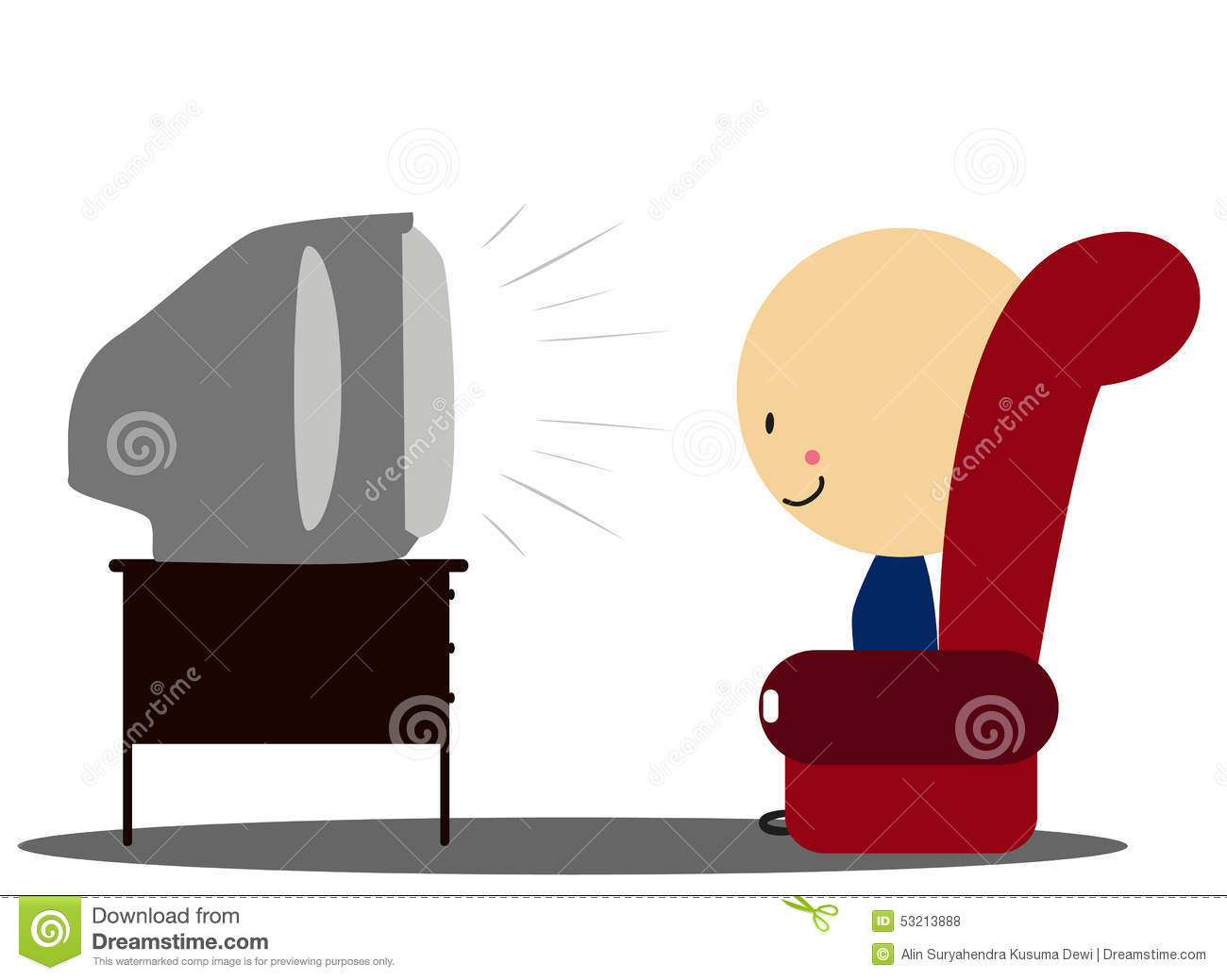 Doodle Boy Watch Tv In Armchair Full Color Stock Vector
