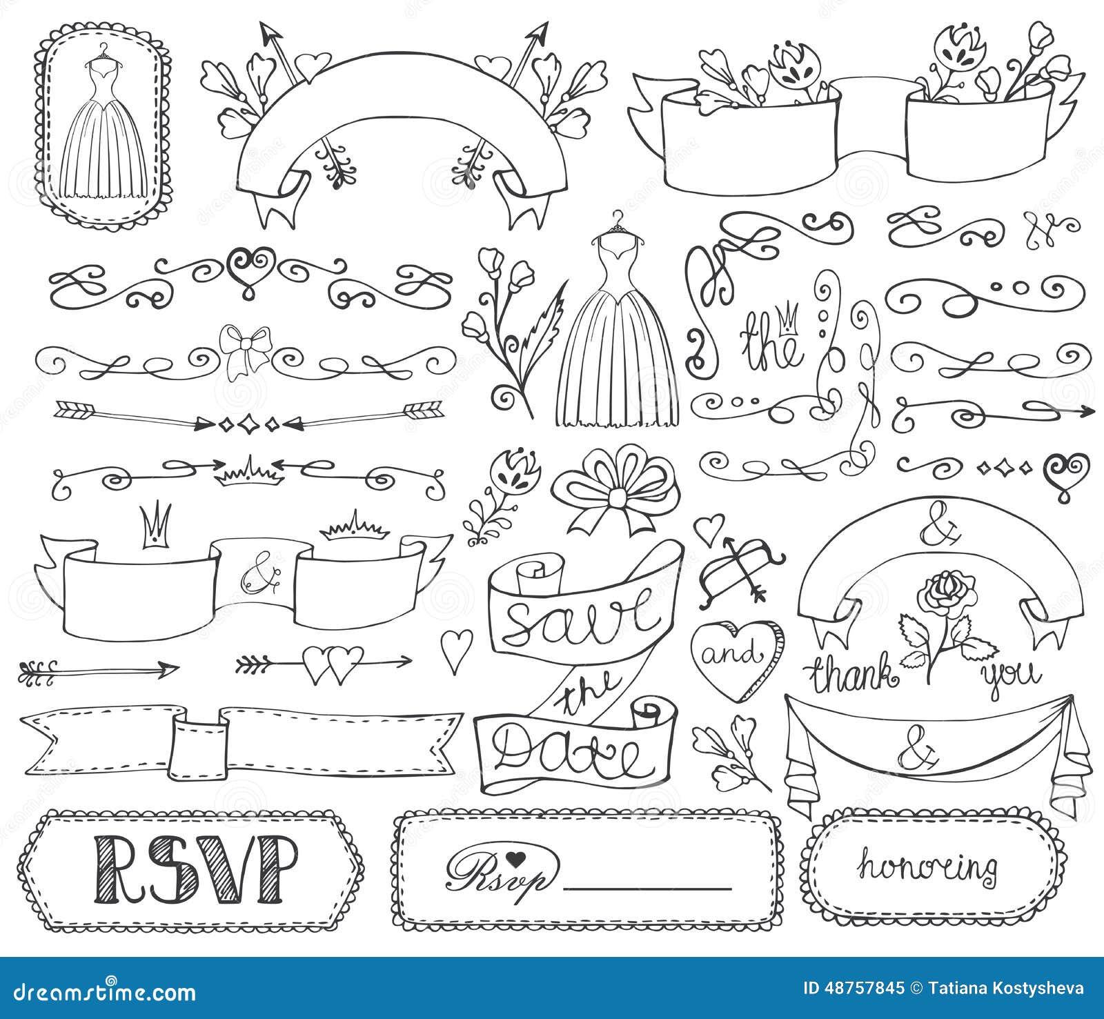 Decorative Wedding Invitation Badge 7: Doodle Bridal Shower Ribbons,border,badges,decor Stock