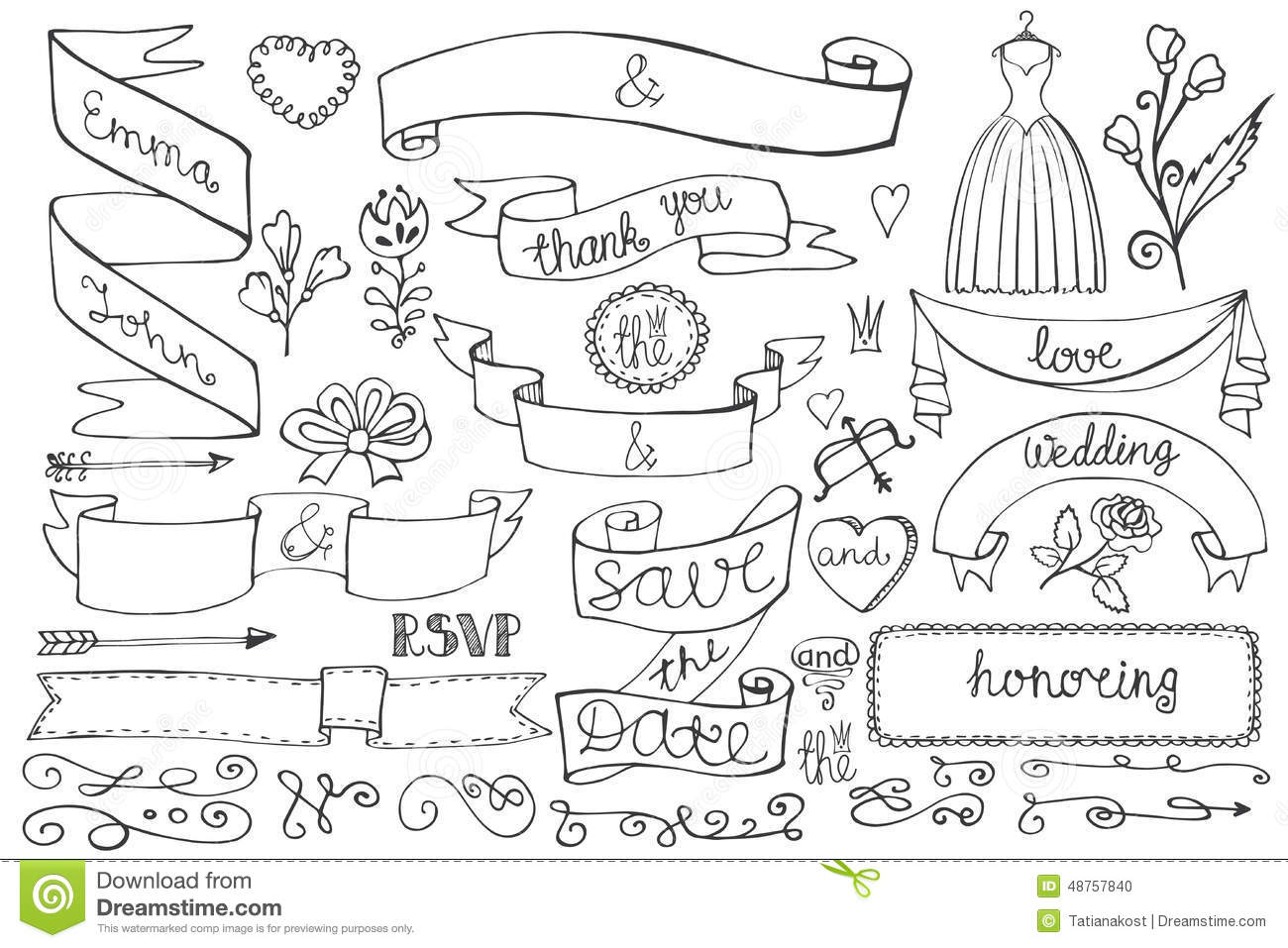 Doodle Bridal Shower Ribbons,border,decor Elements Stock Vector ...