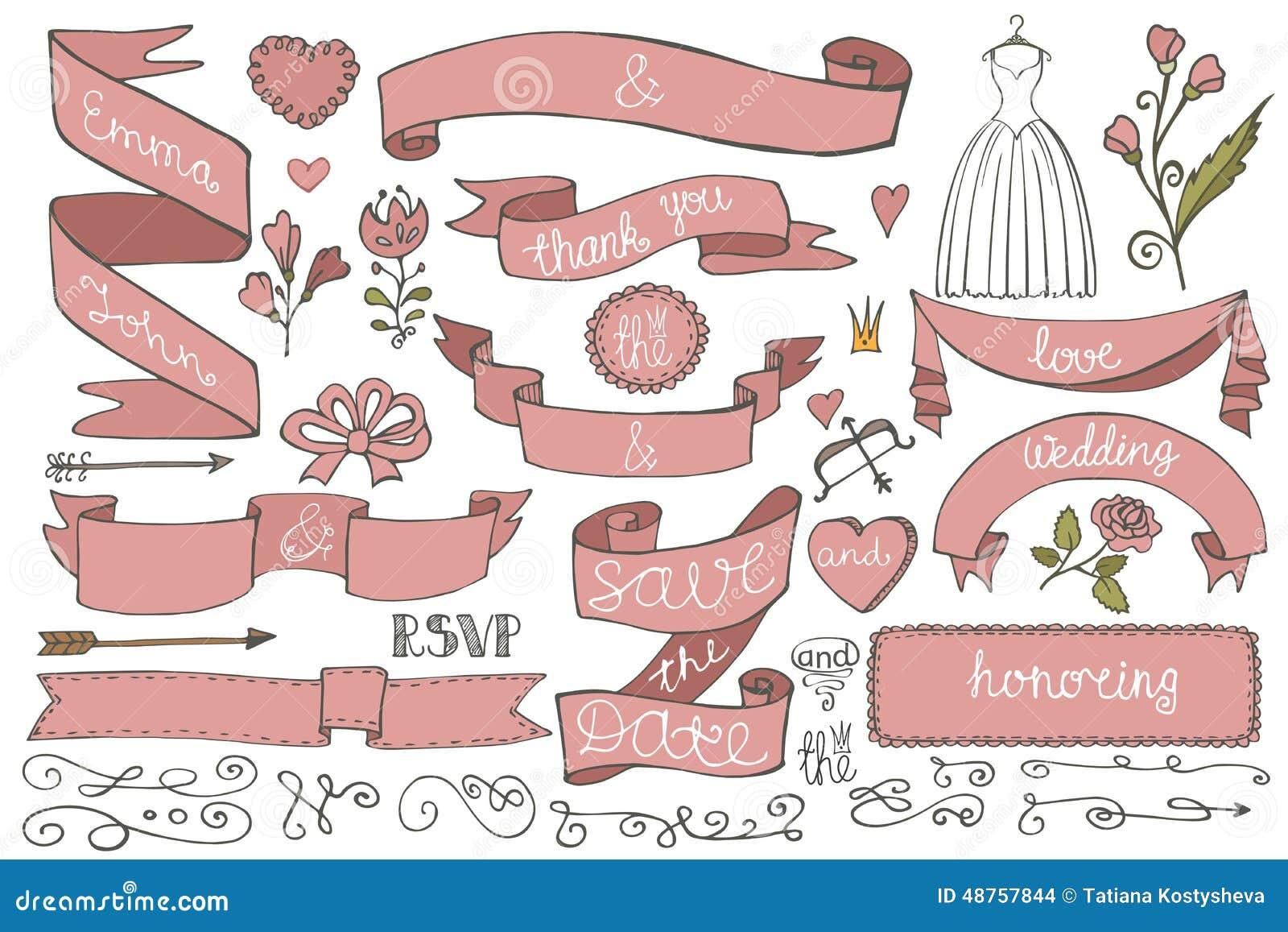 doodle bridal shower ribbons border decor elements stock vector