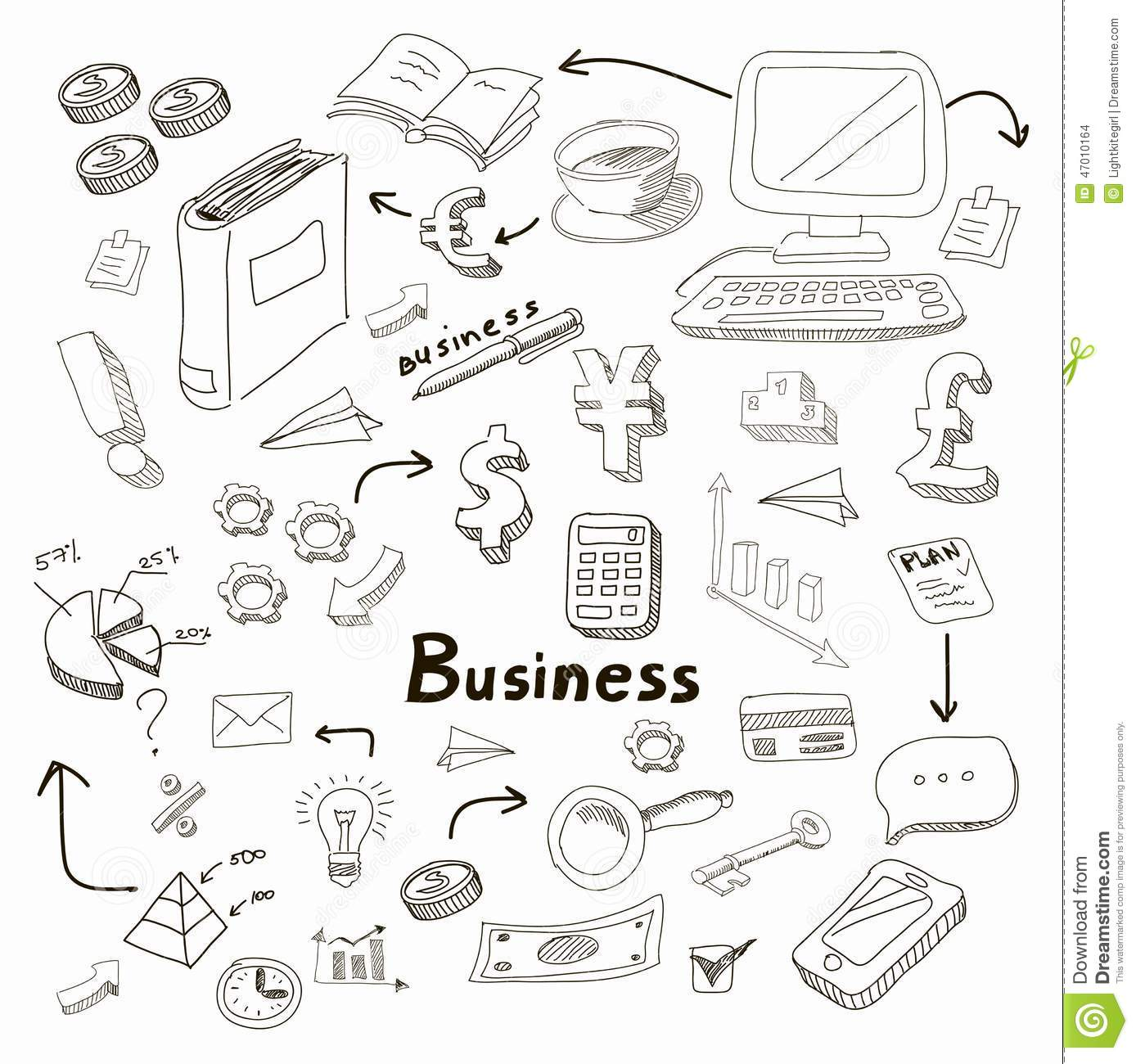 doodle business diagrams set on blackboard vector stock