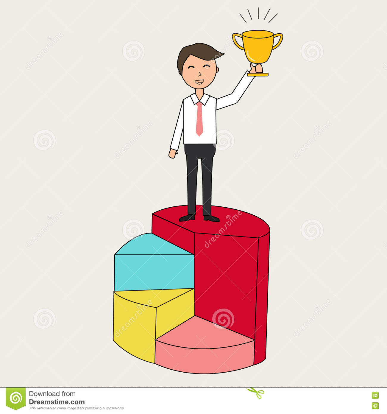Doodle Business Man Holding The Trophy To Show Success In His J