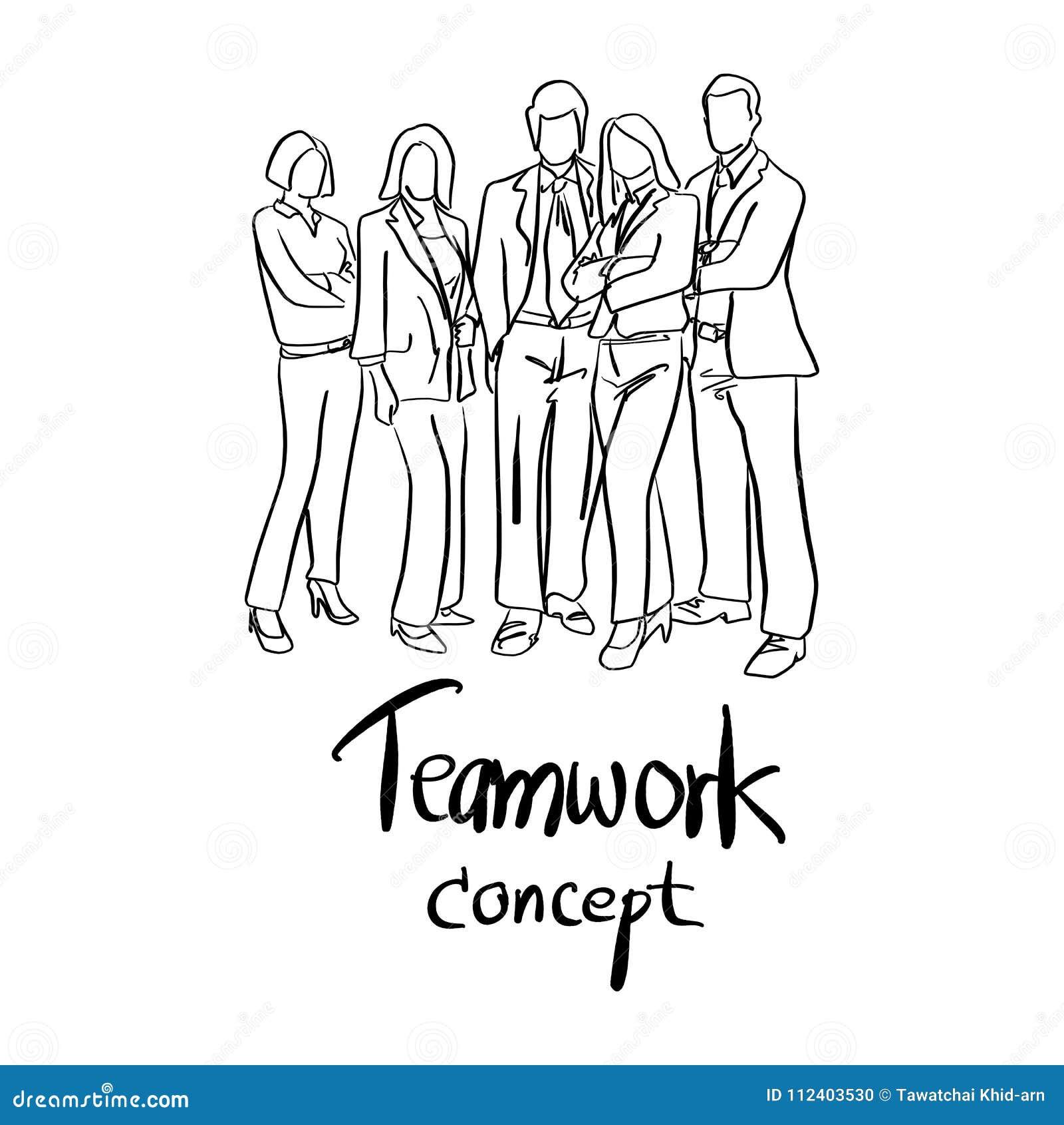Doodle Business People Team Standing Vector Illustration Sketch