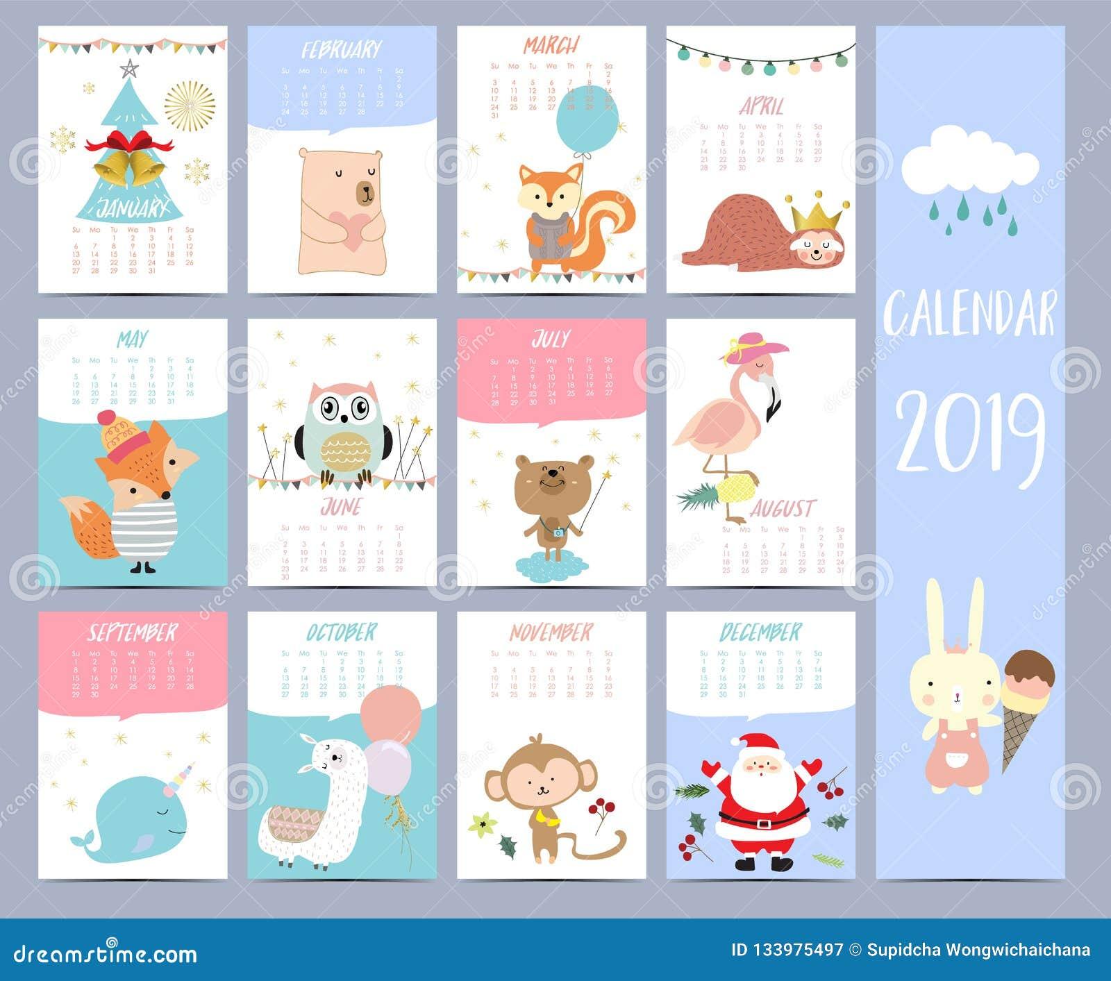 Doodle calendar set 2019 with Santa Claus;christmas tree, bear
