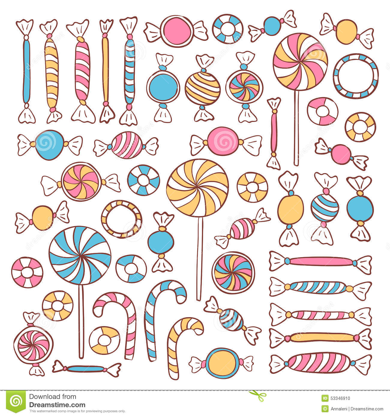 Doodle Candies Sweets Hand Drawn Objects Set Stock Vector