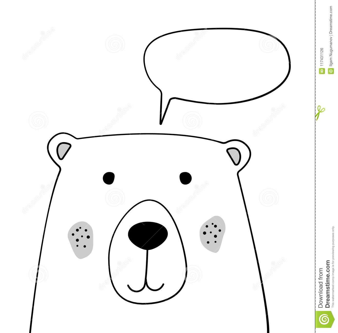 doodle cartoon bear with chat cloud sketch illustration talking