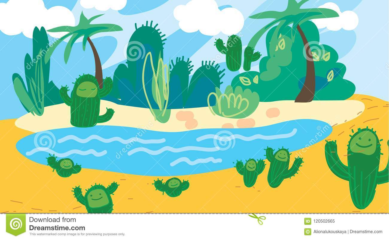 Doodle Cartoon Desert Oasis With Palm Cacti Background Tropical