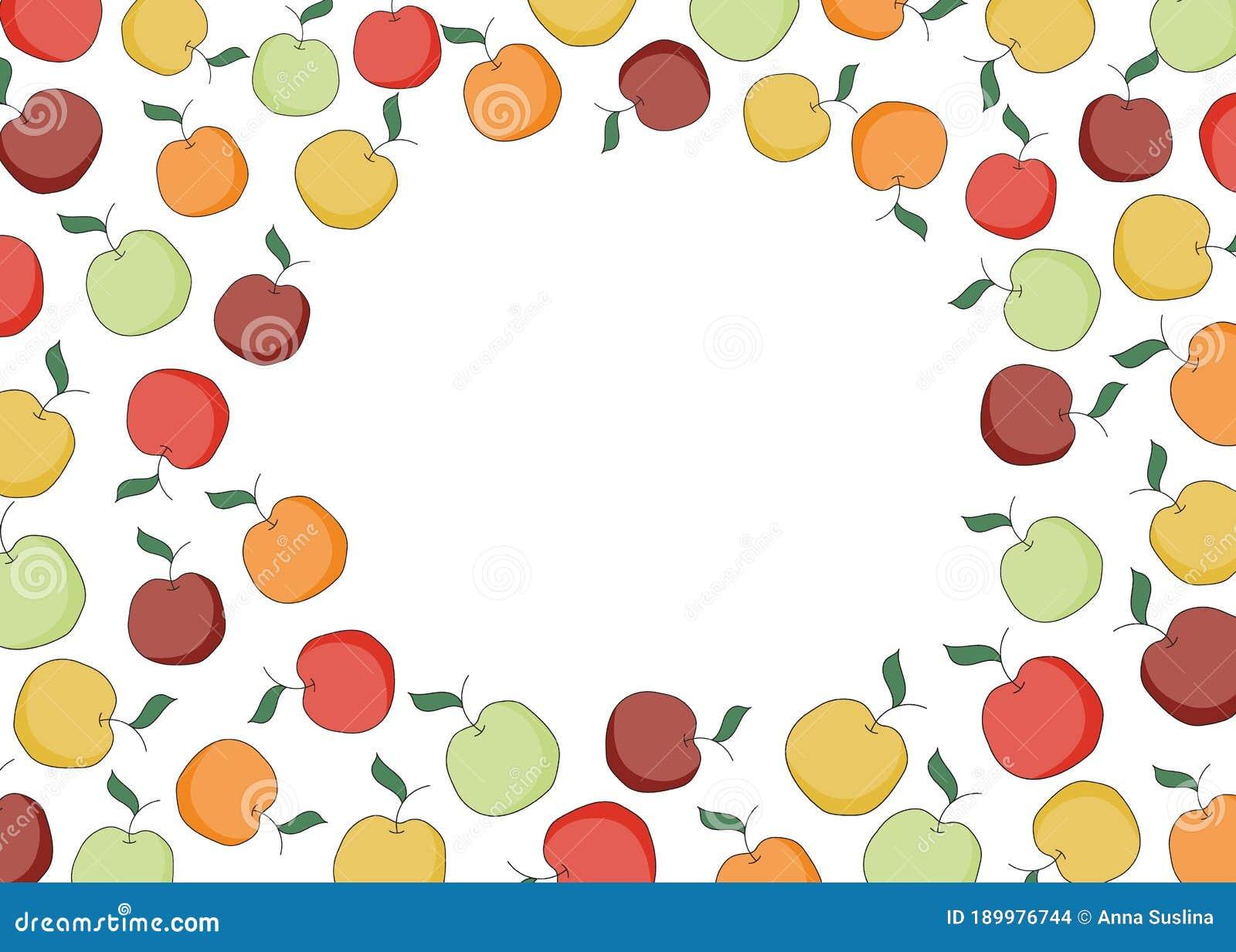 Doodle Cartoon Hipster Style Frame Border Ornament Illustration Red Orange Yellow Green Apples Bar Restaurant Menu Stock Vector Illustration Of Blank Apple 189976744