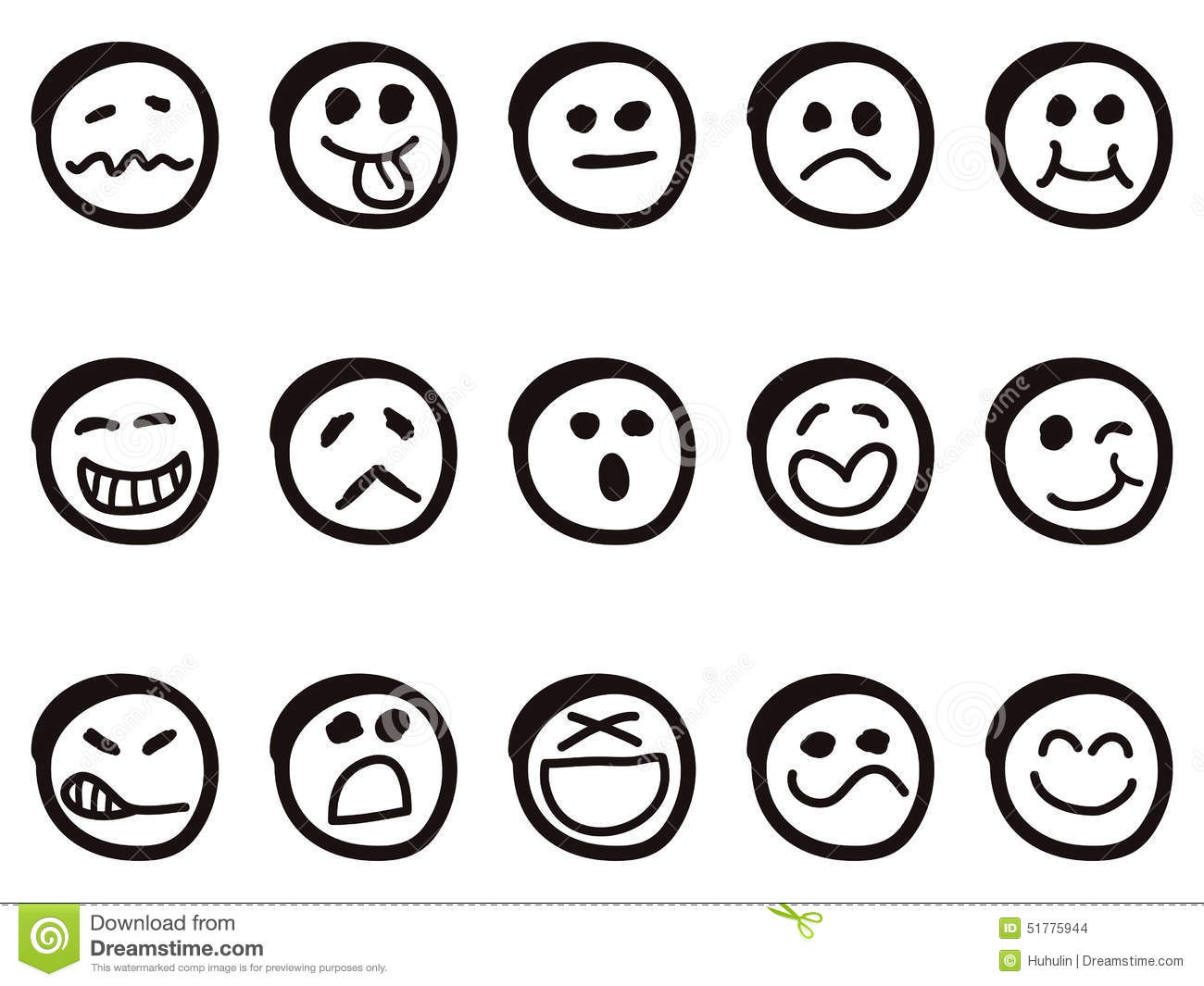 doodle cartoon smiley faces stock vector image 51775944