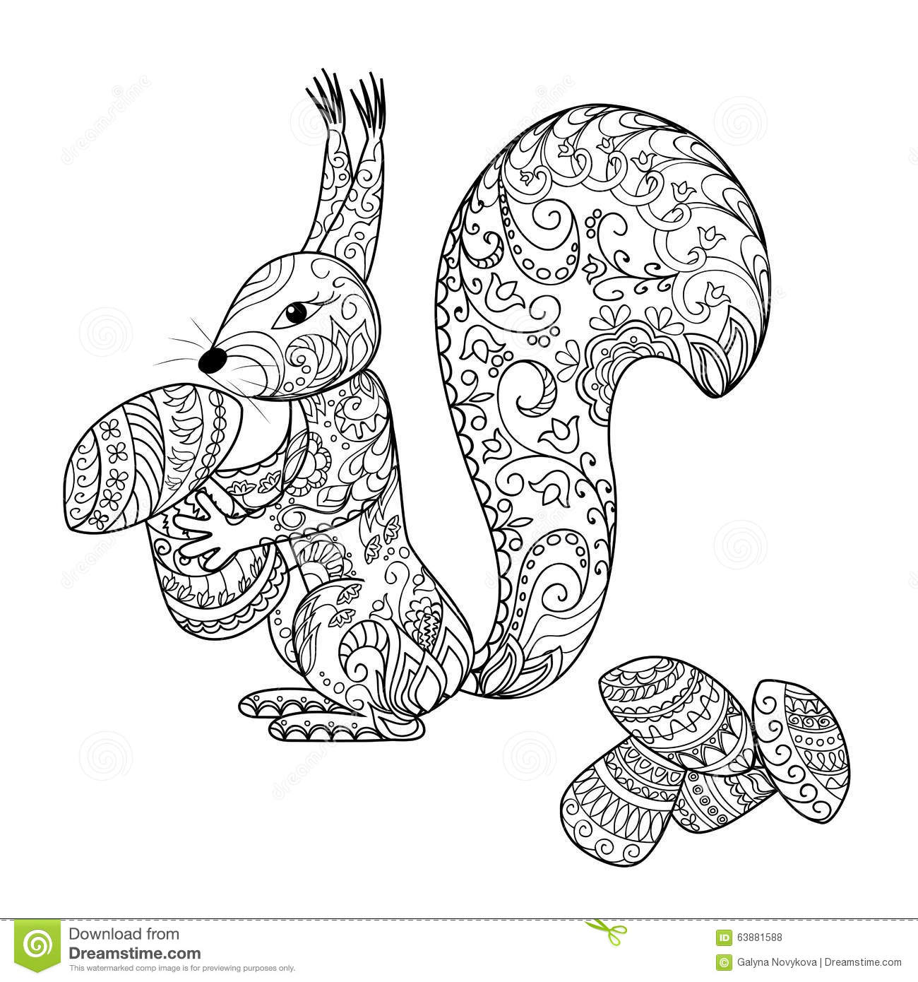Henna Animals Coloring Pages : Doodle cartoon squirrel and mushrooms stock vector