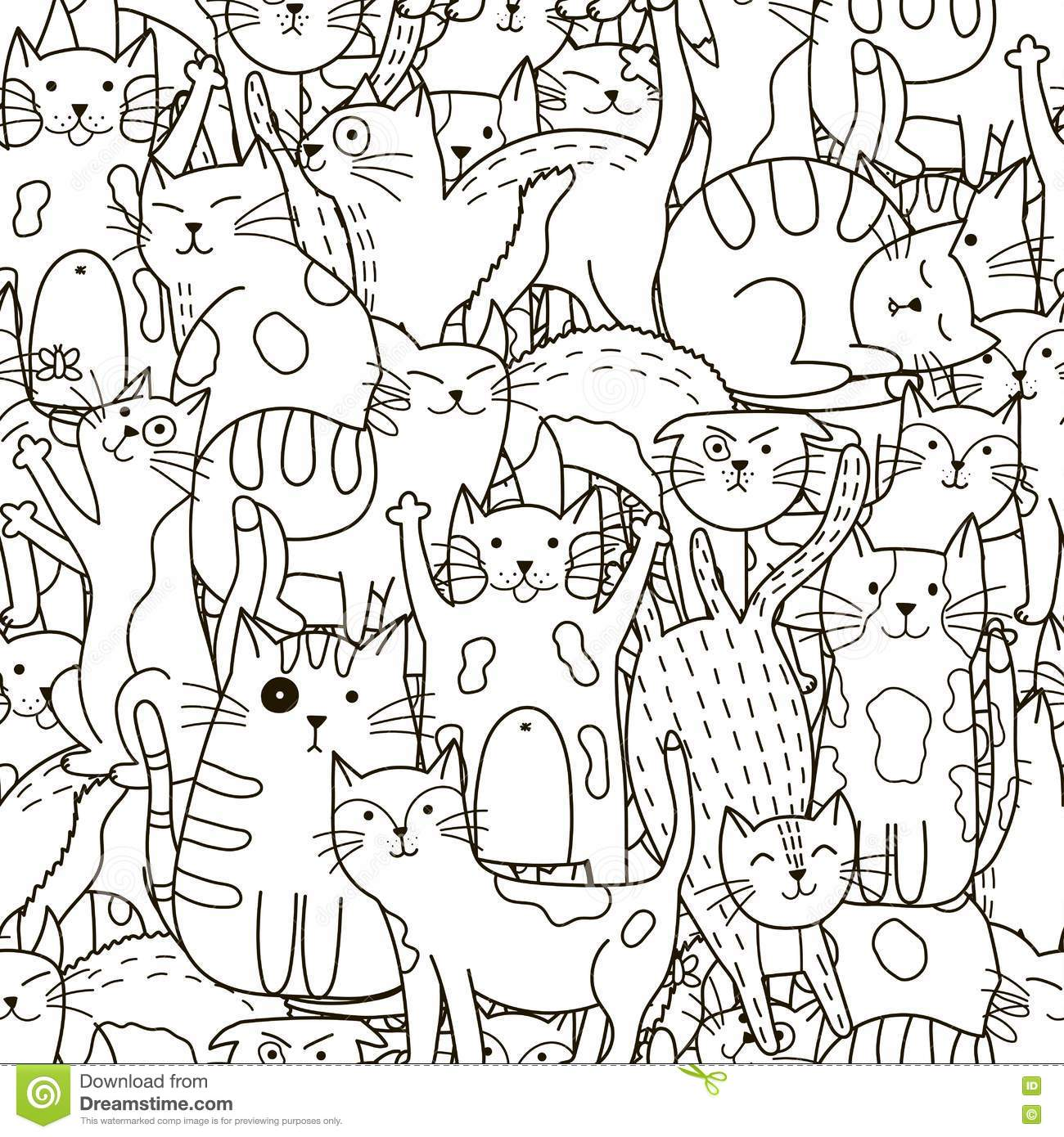 Seamless Pattern With Cute White Cats Cartoon Vector