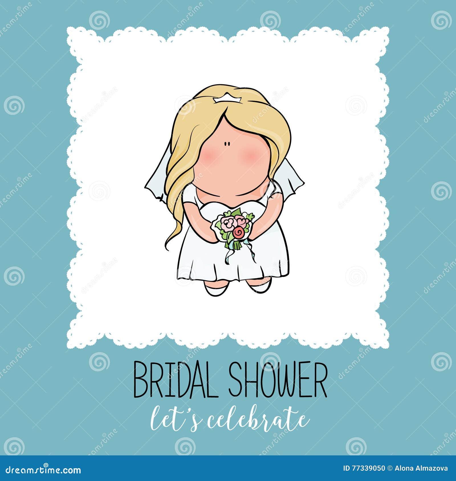 Cute Wedding Party Ideas: Doodle Character. Cute Bride. Romantic Announcement For