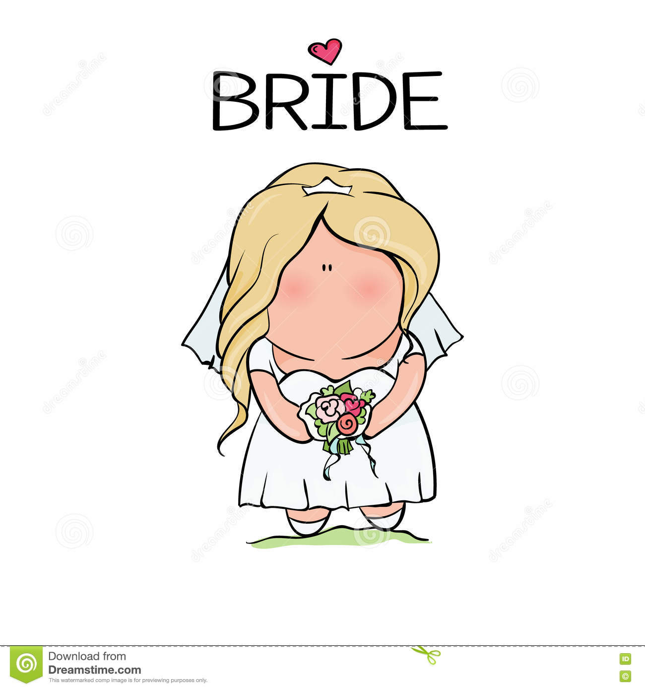 Doodle Character. Cute Bride. Template For Print Cartoon ...