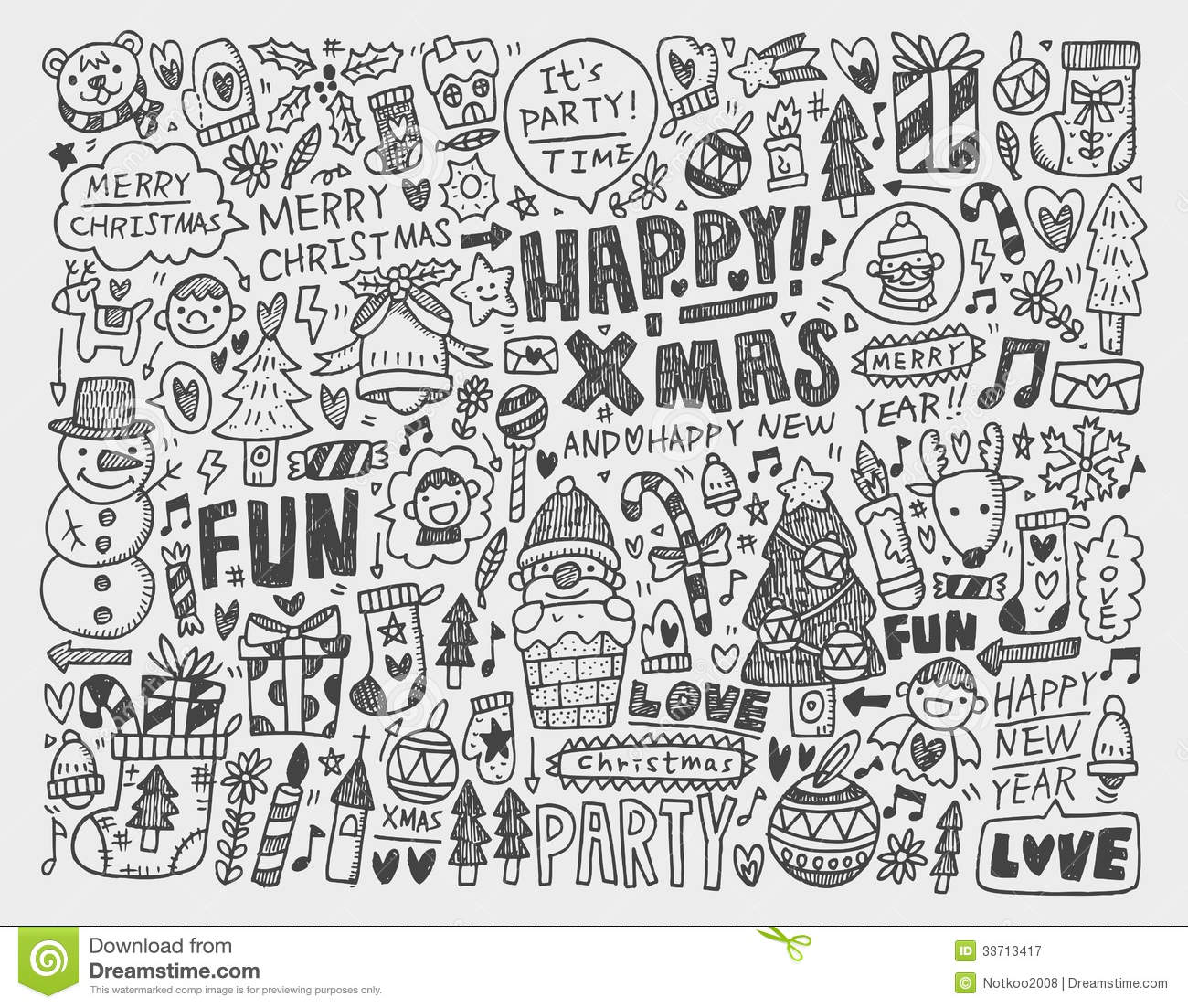 Doodle Christmas Background Royalty Free Stock Photography - Image ...