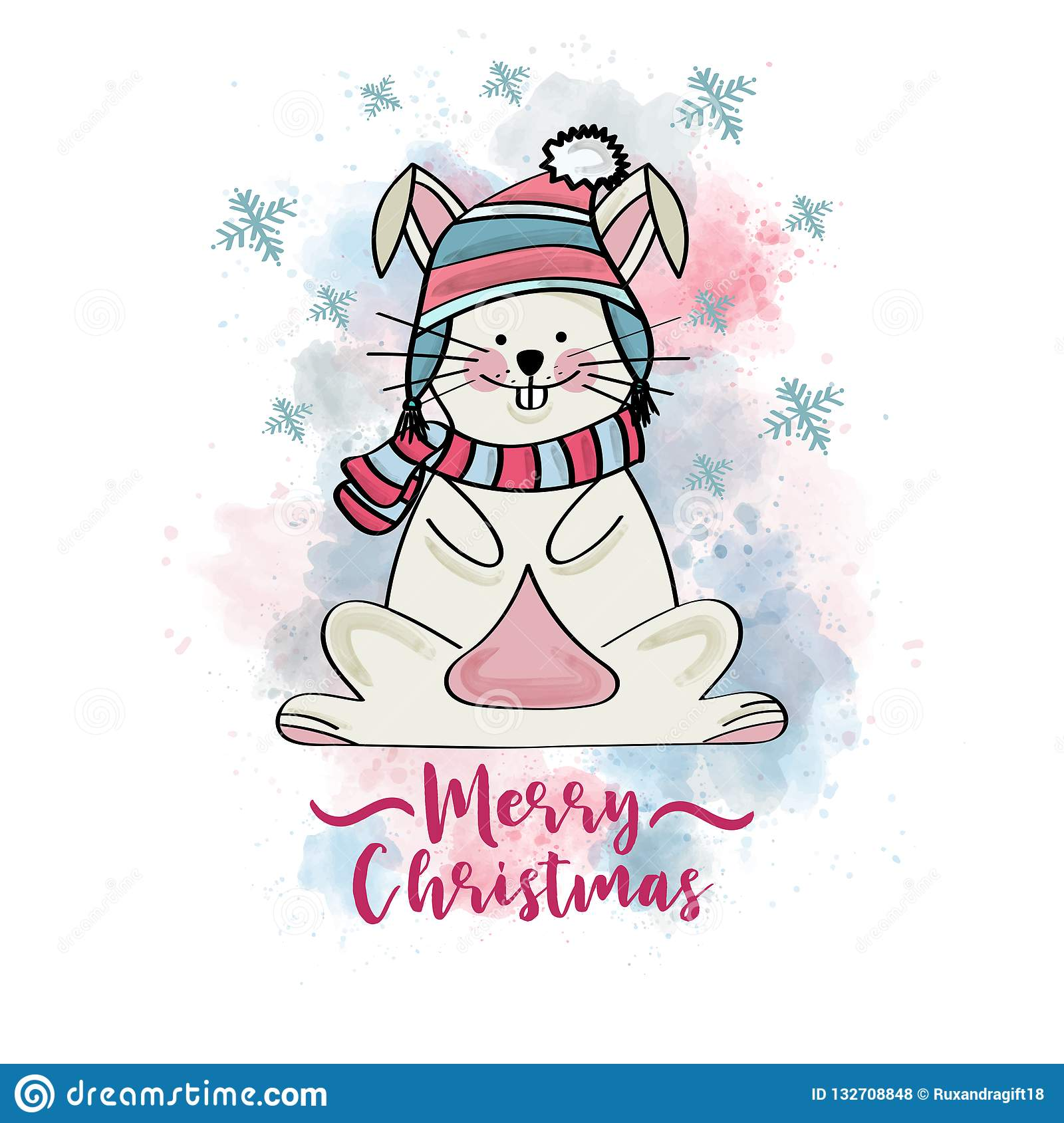 Doodle Christmas card with dressed bunny