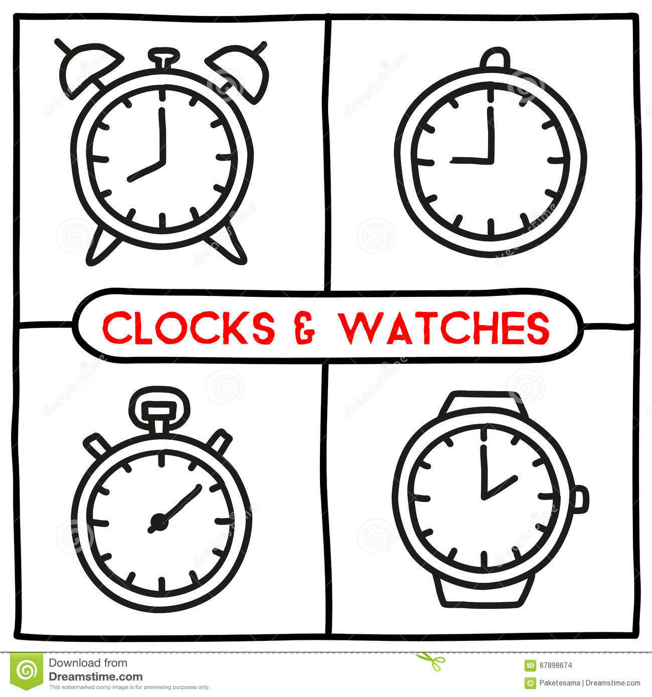 Doodle Clock Icons Set Stock Vector Image 67898674