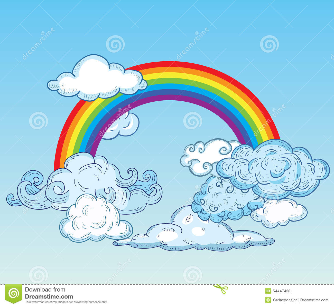 doodle clouds and rainbow hand drawn vector stock vector