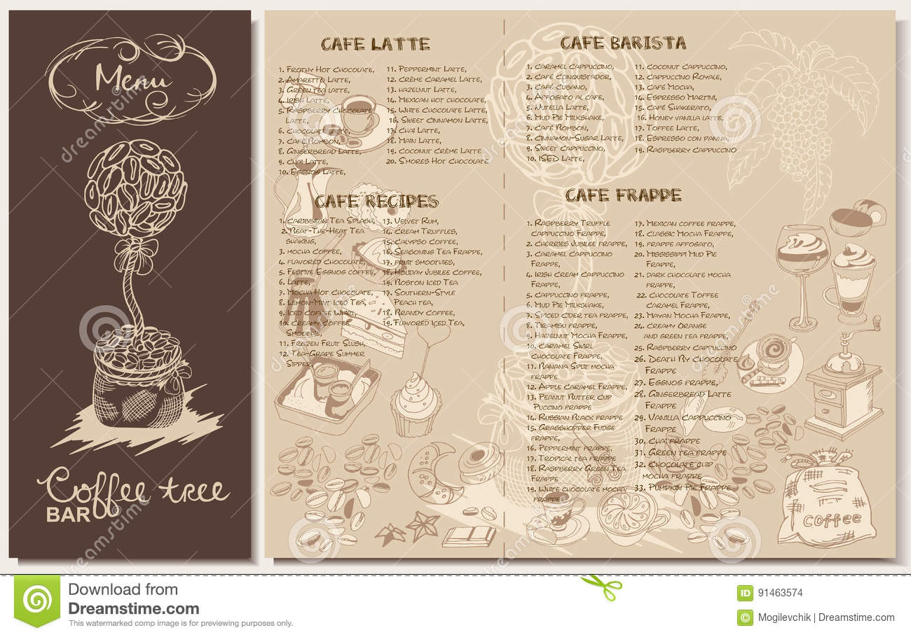 doodle coffee restaurant menu template stock vector illustration