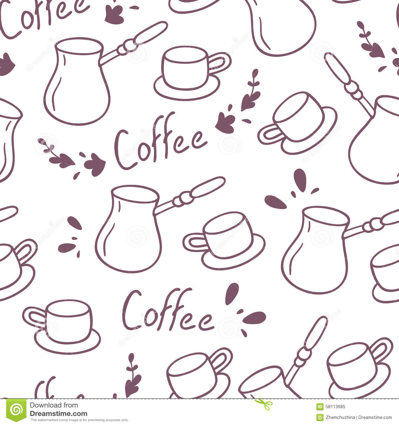 seamless doodle coffee pattern - photo #29